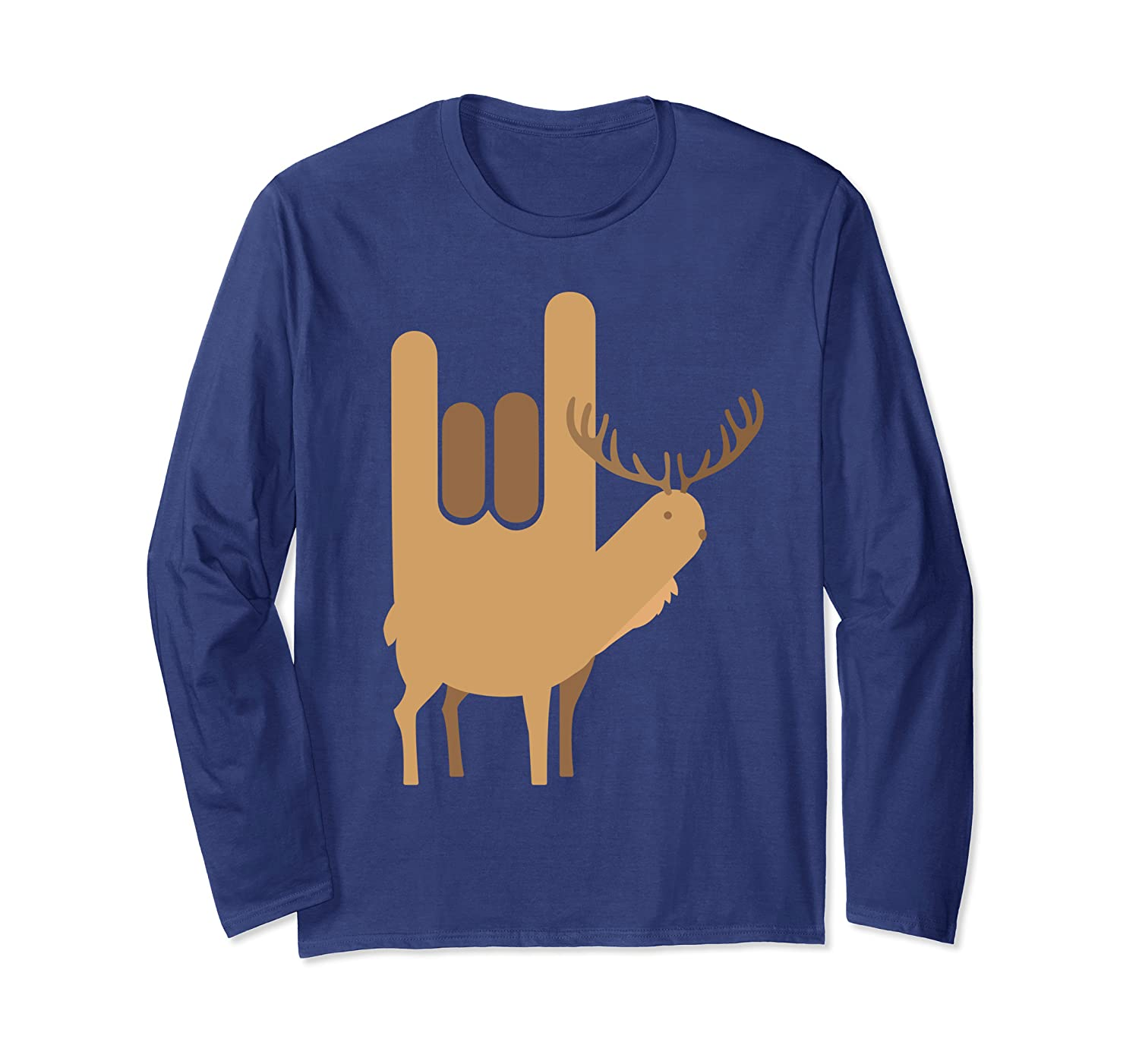 American Sign Language I Love You Design Goat Ibex Christmas Long Sleeve T-Shirt