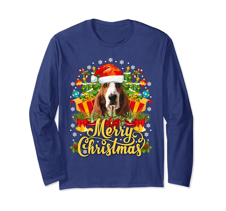 Merry Christmas Basset Hound Mom Dad Christmas Long Sleeve T-Shirt