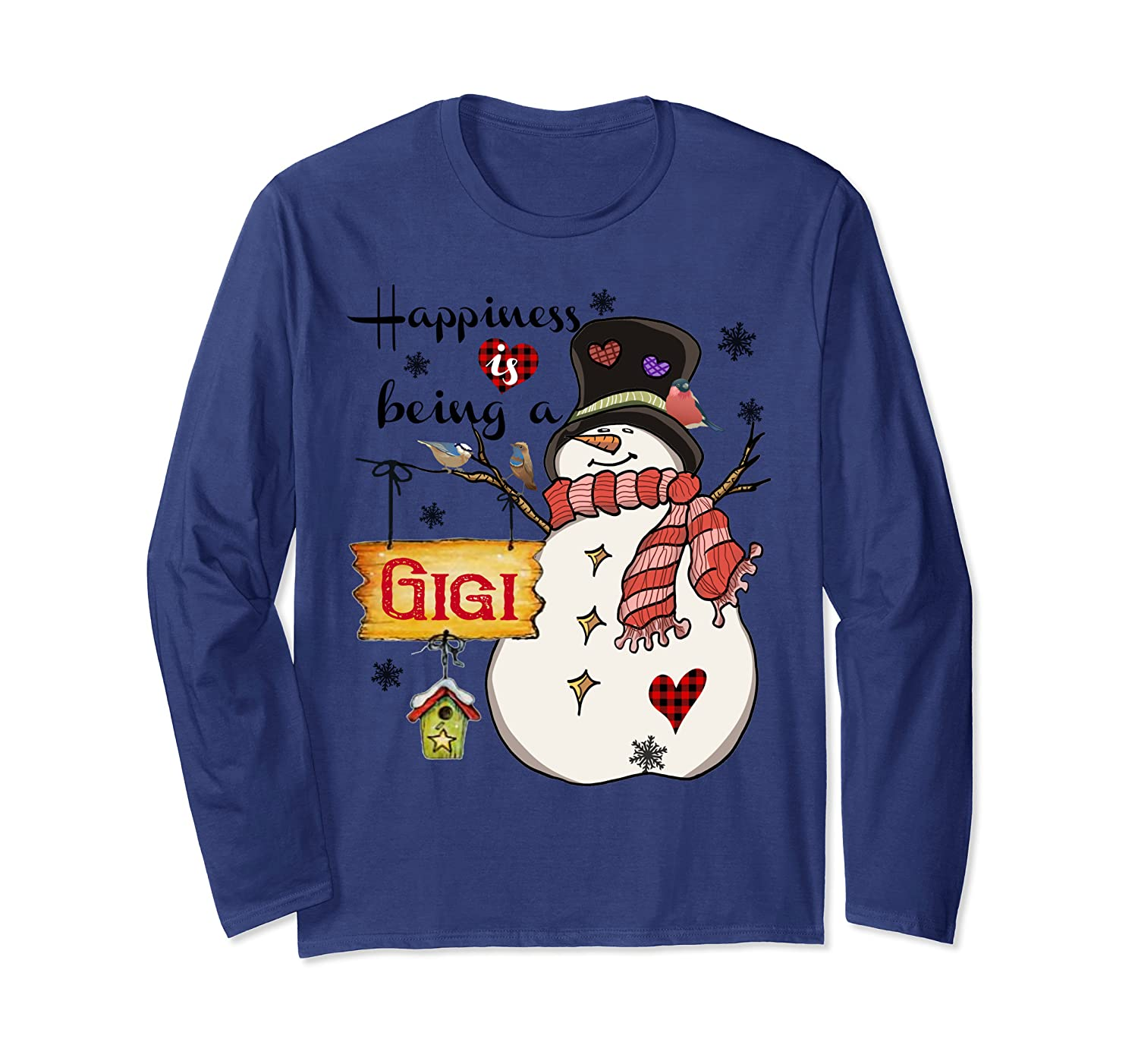 Happiness is being a Gigi Snowman Family Christmas Gifts Long Sleeve T-Shirt-Awarplus