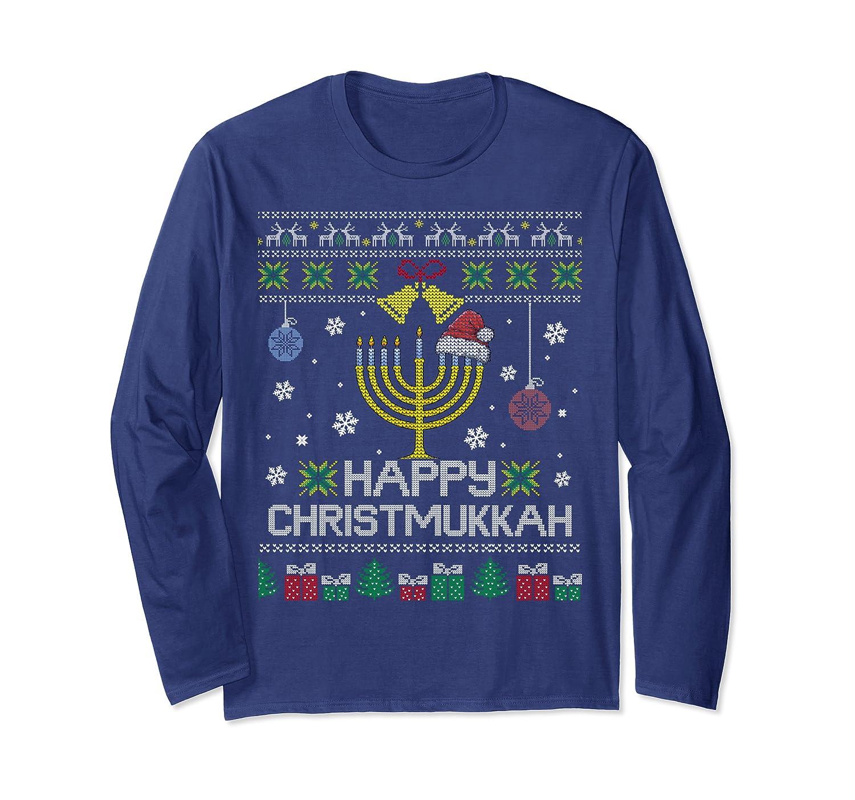 Happy Chrismukkah Humor Hanukkah Ugly Christmas Sweater Long Sleeve T-Shirt-TH