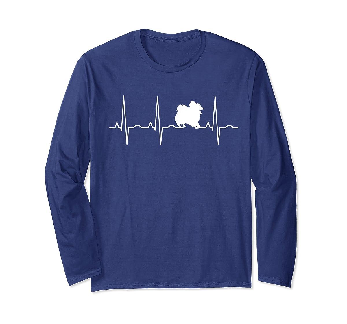 Pomeranian Heartbeat T-Shirt Pom Shirt Gifts Dog Lover-Long Sleeve-Navy
