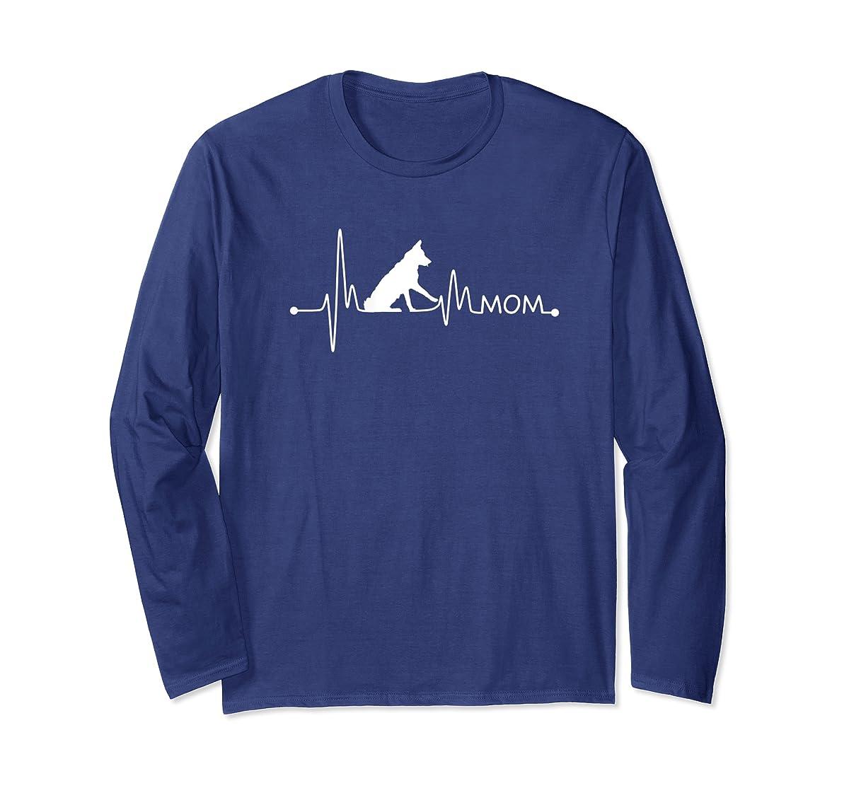 Womens Border Collie Heartbeat Mom Shirt Ekg Pulse Collie Lover Tee-Long Sleeve-Navy