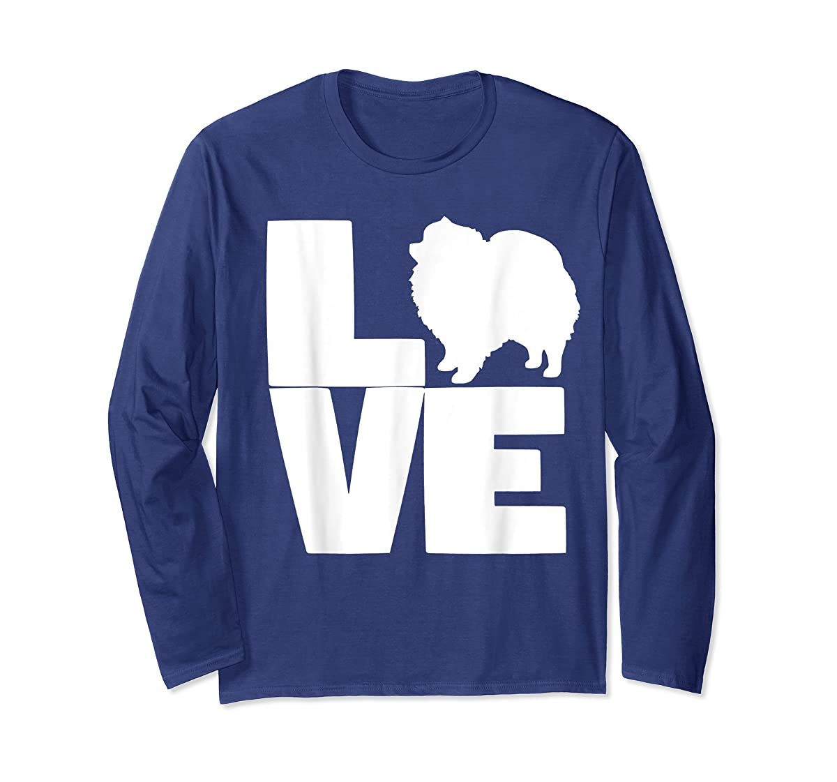I Love Pomeranians Pom Mom or Dad Pet Lover T Shirt-Long Sleeve-Navy