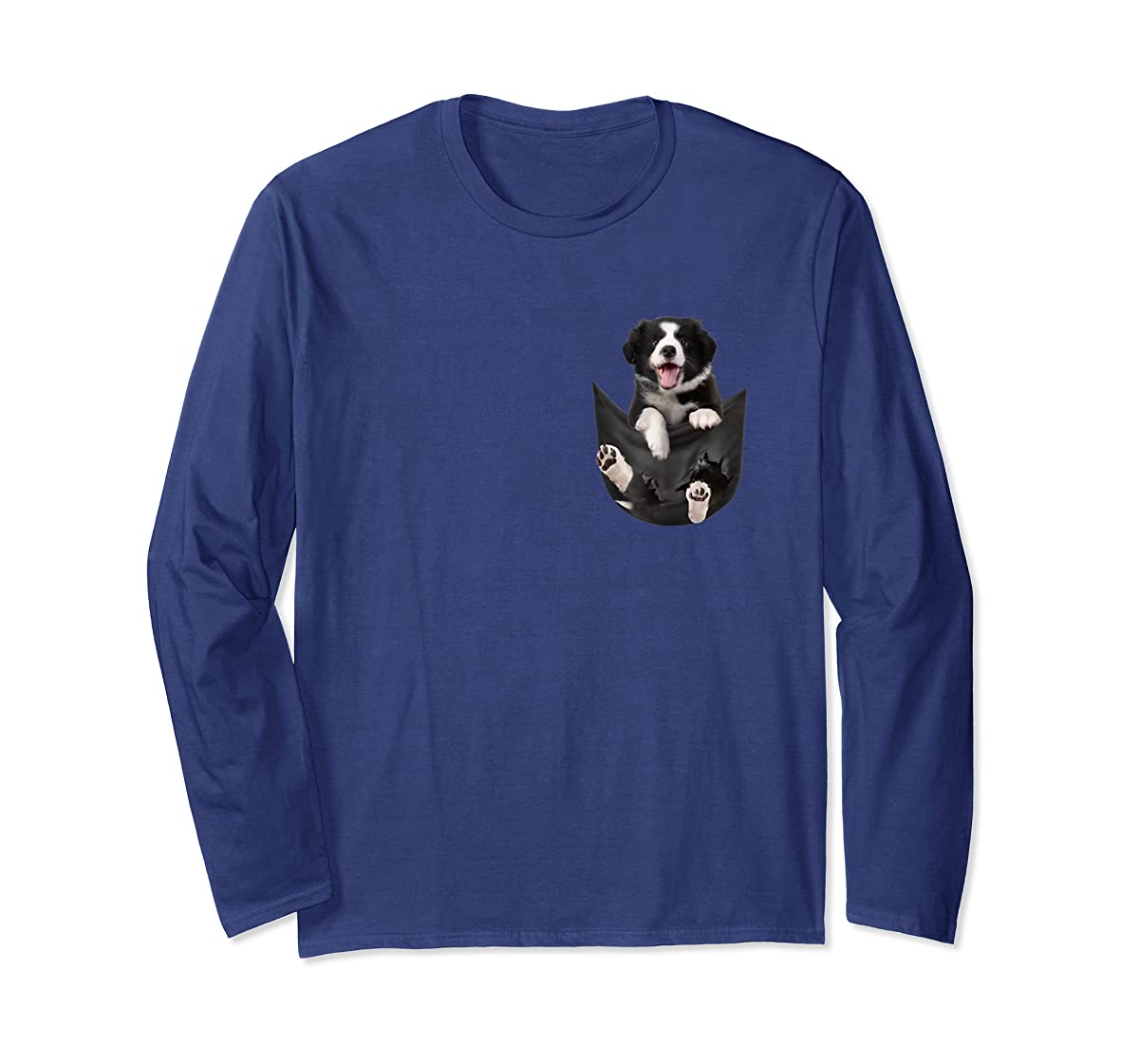 Border Collies Inside In Pocket Dog Lover T shirt Funny Cute-Long Sleeve-Navy