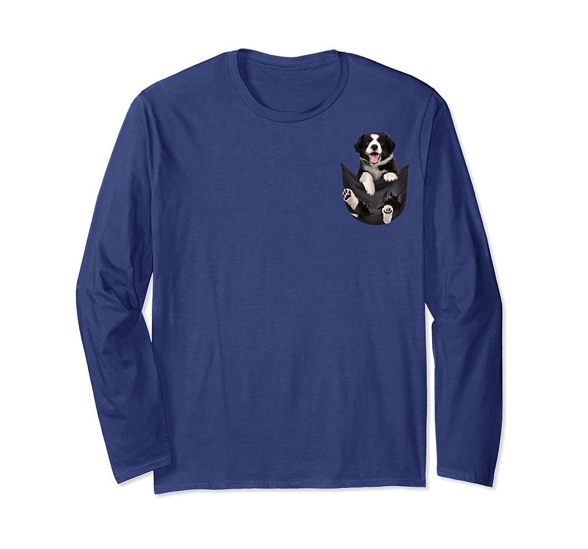 Gift dog funny cute shirt - Border Collie in pocket shirt T-Shirt-Long Sleeve-Navy