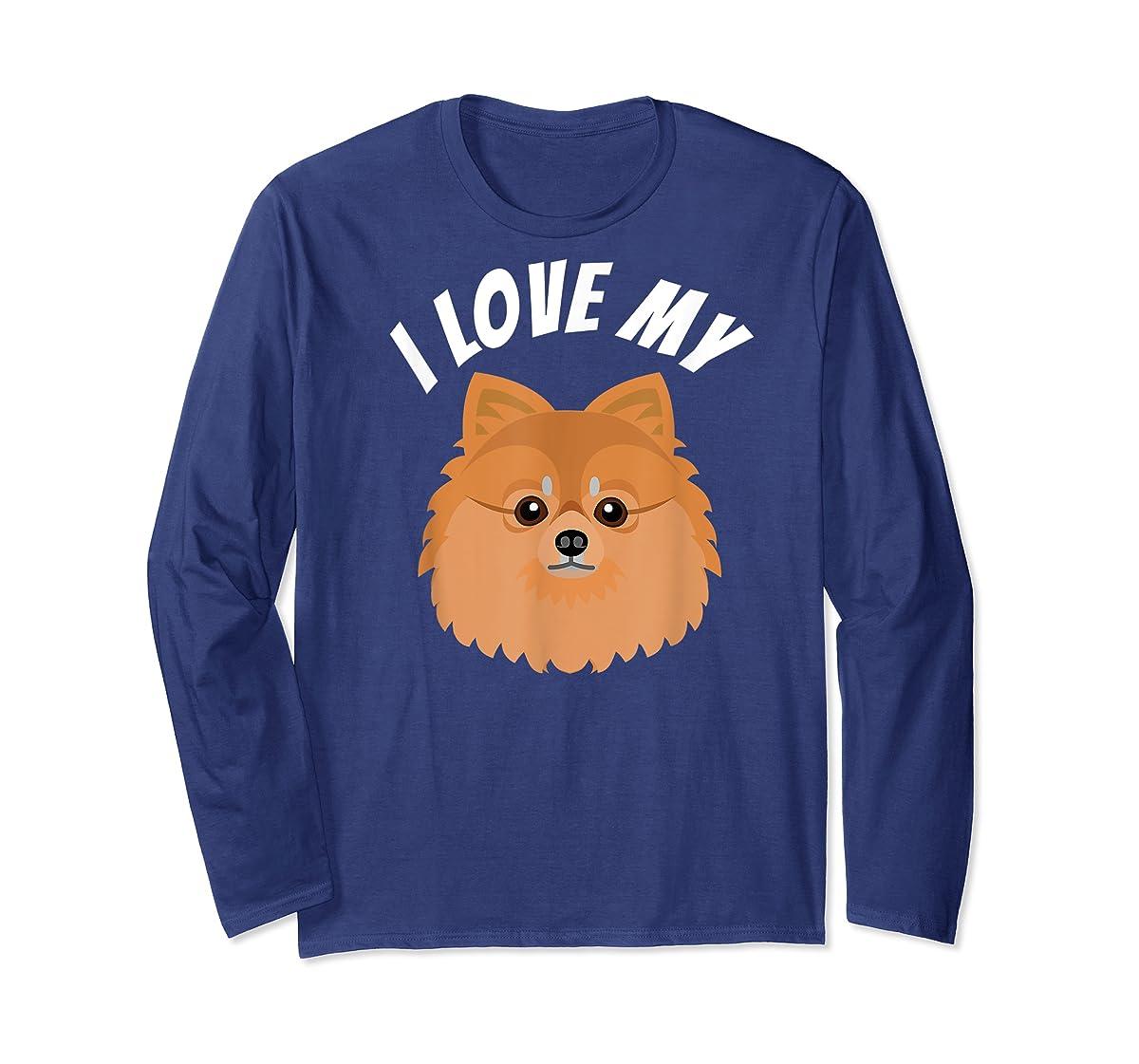 I Love My Pomeranian T-Shirt Dog Lover Tee-Long Sleeve-Navy