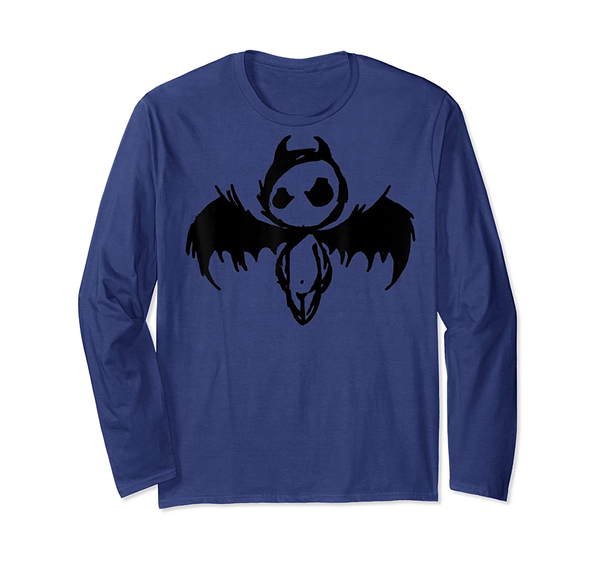 Cute Demon Vintage Couple Matching Halloween Party Costume  T-Shirt-Long Sleeve-Navy