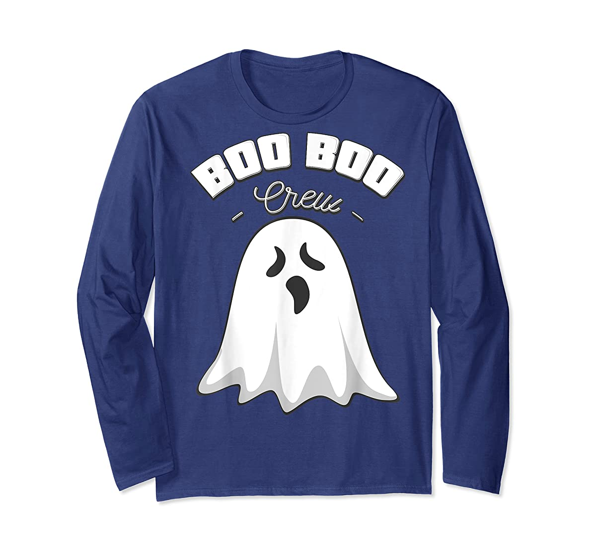 Boo Boo Crew Ghost Funny Halloween Black and Orange Night  T-Shirt-Long Sleeve-Navy