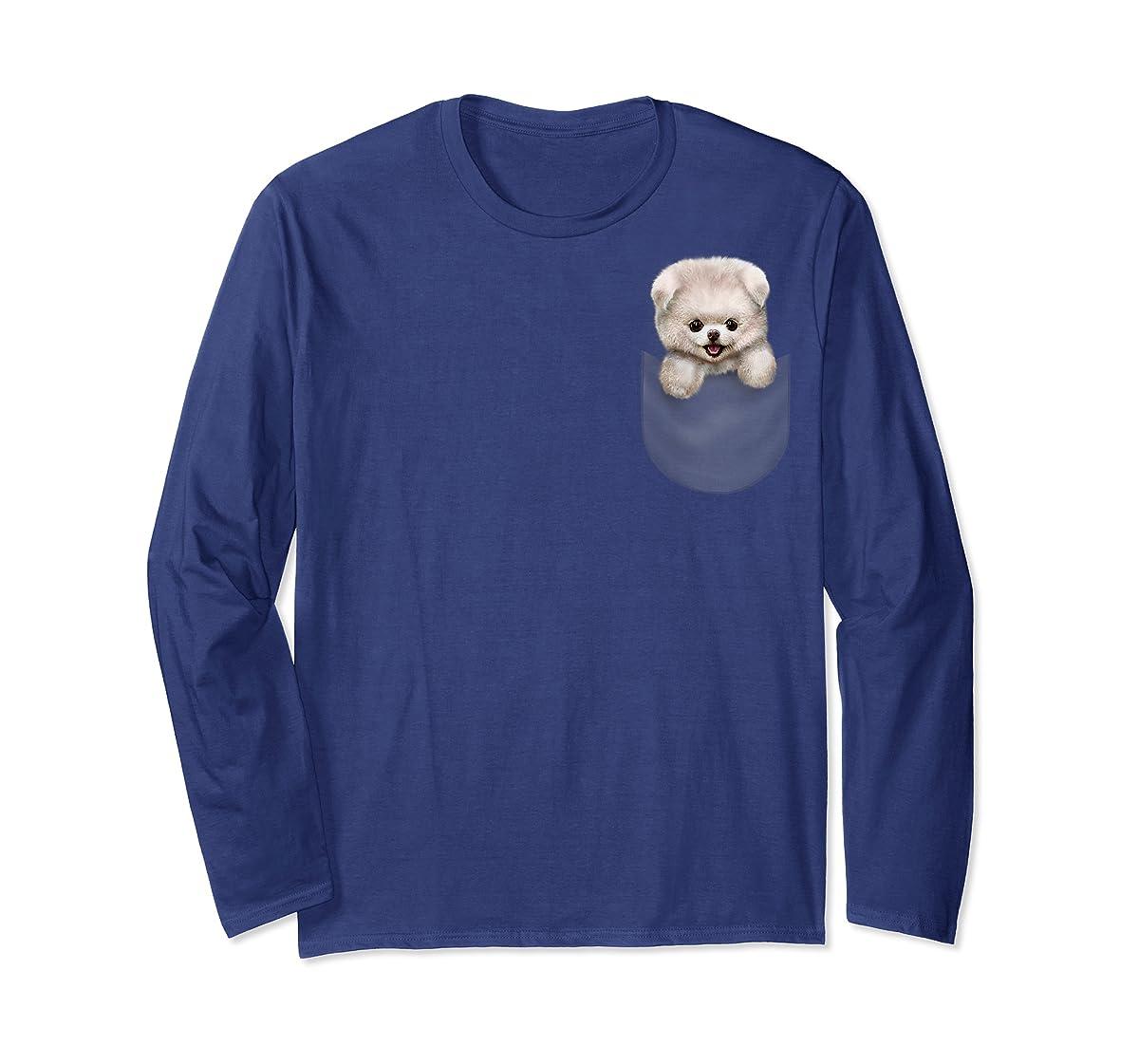 T-Shirt, Cute White Fluffy Pomeranian Puppy in Pocket, Dog-Long Sleeve-Navy