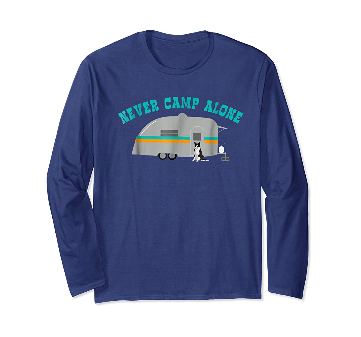 Border Collie Dog RV Shirt Funny Camping Travel Trailer-Long Sleeve-Navy