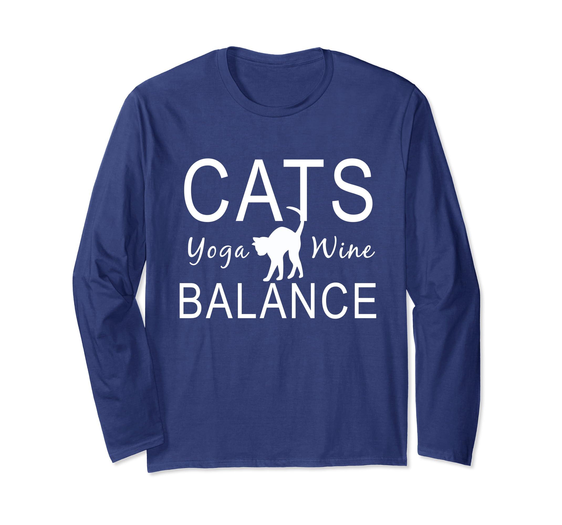 Yoga Shirts With Sayings Cats Yoga Wine Balance T Shirt-ln