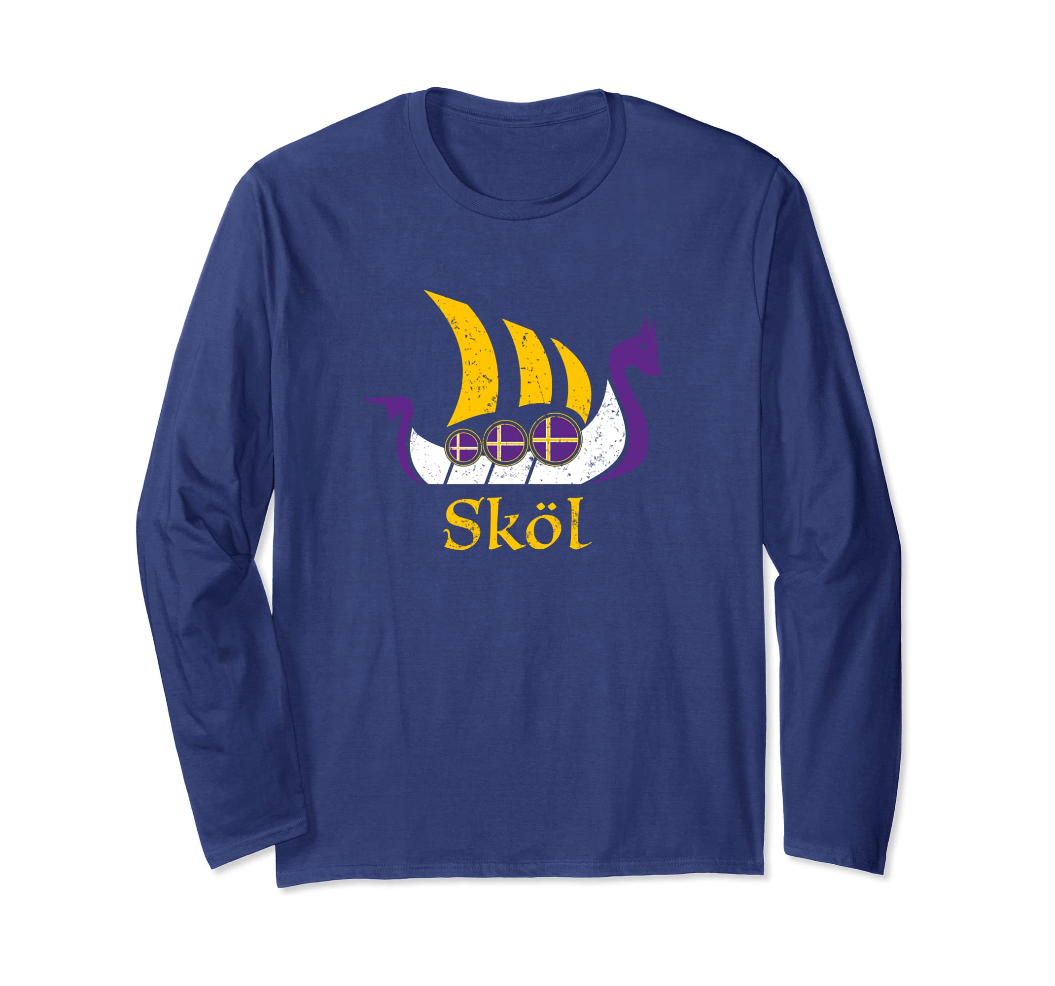 Skol Long Sleeve Shirt Nordic Scandinavian Vikings Boat-Teechatpro