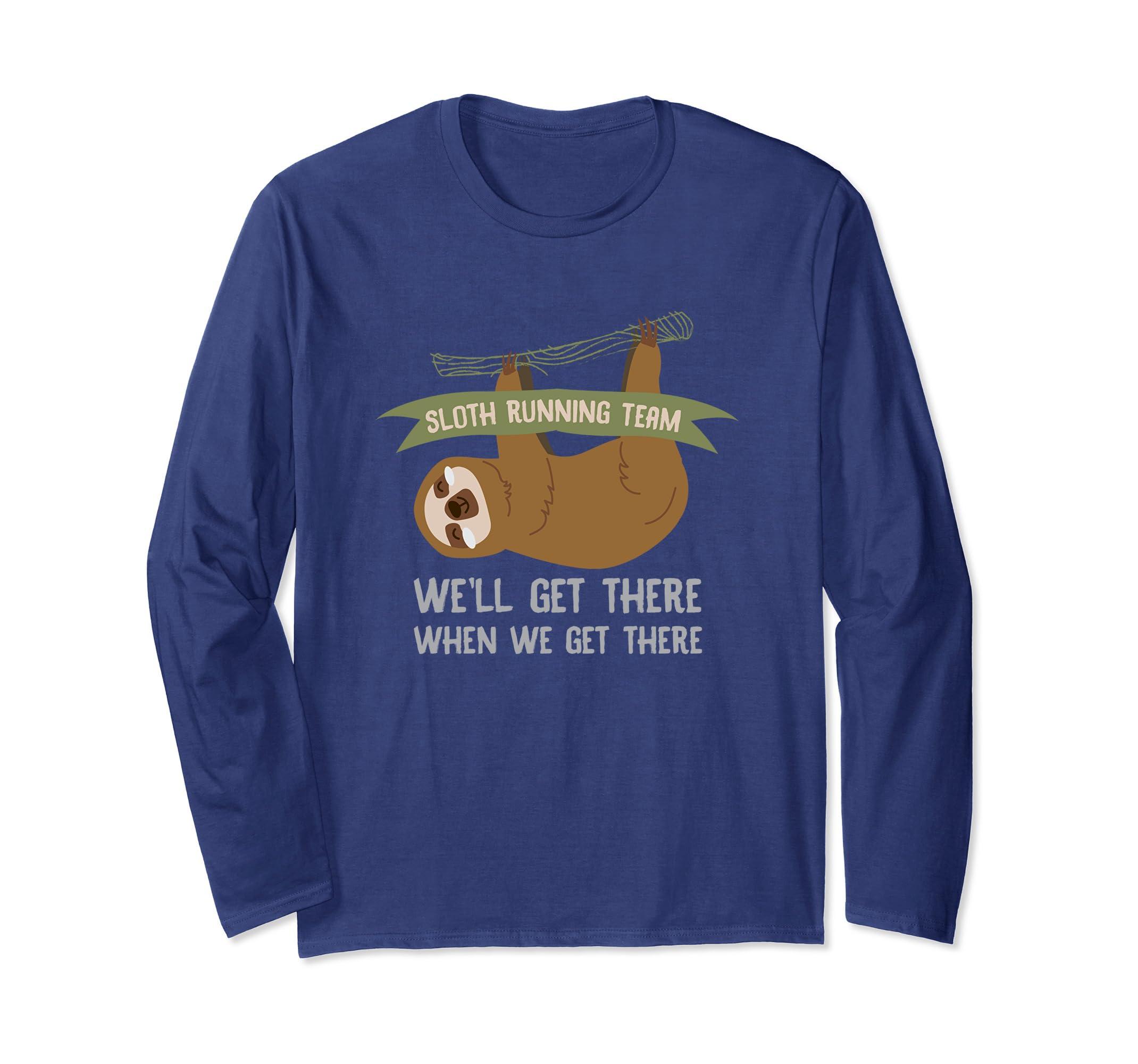 Sloth Running Team Long Sleeve T-Shirt-AZP