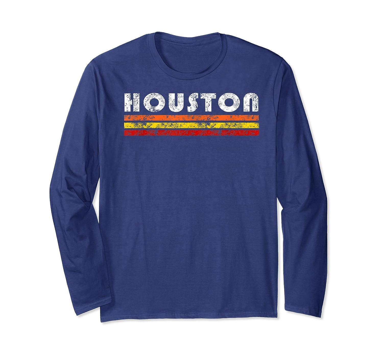 Houston Texas Retro T Shirt Vintage Caps Long Sleeve T-shirt