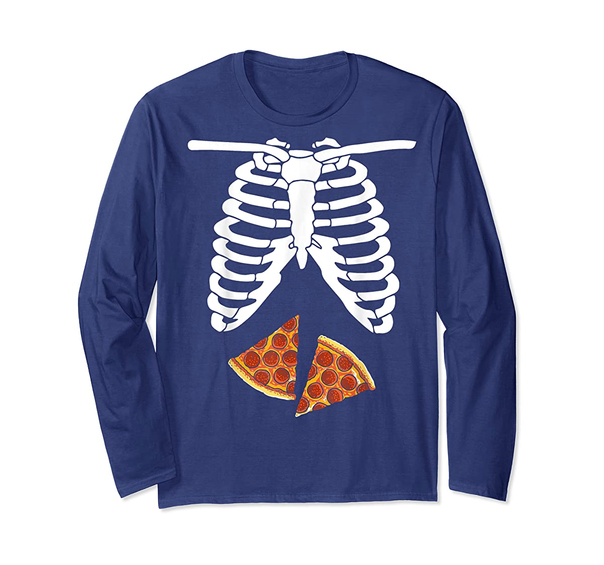 Halloween Skeleton Xray Pizza Slices Costume Rib Cage Easy T-Shirt-Long Sleeve-Navy