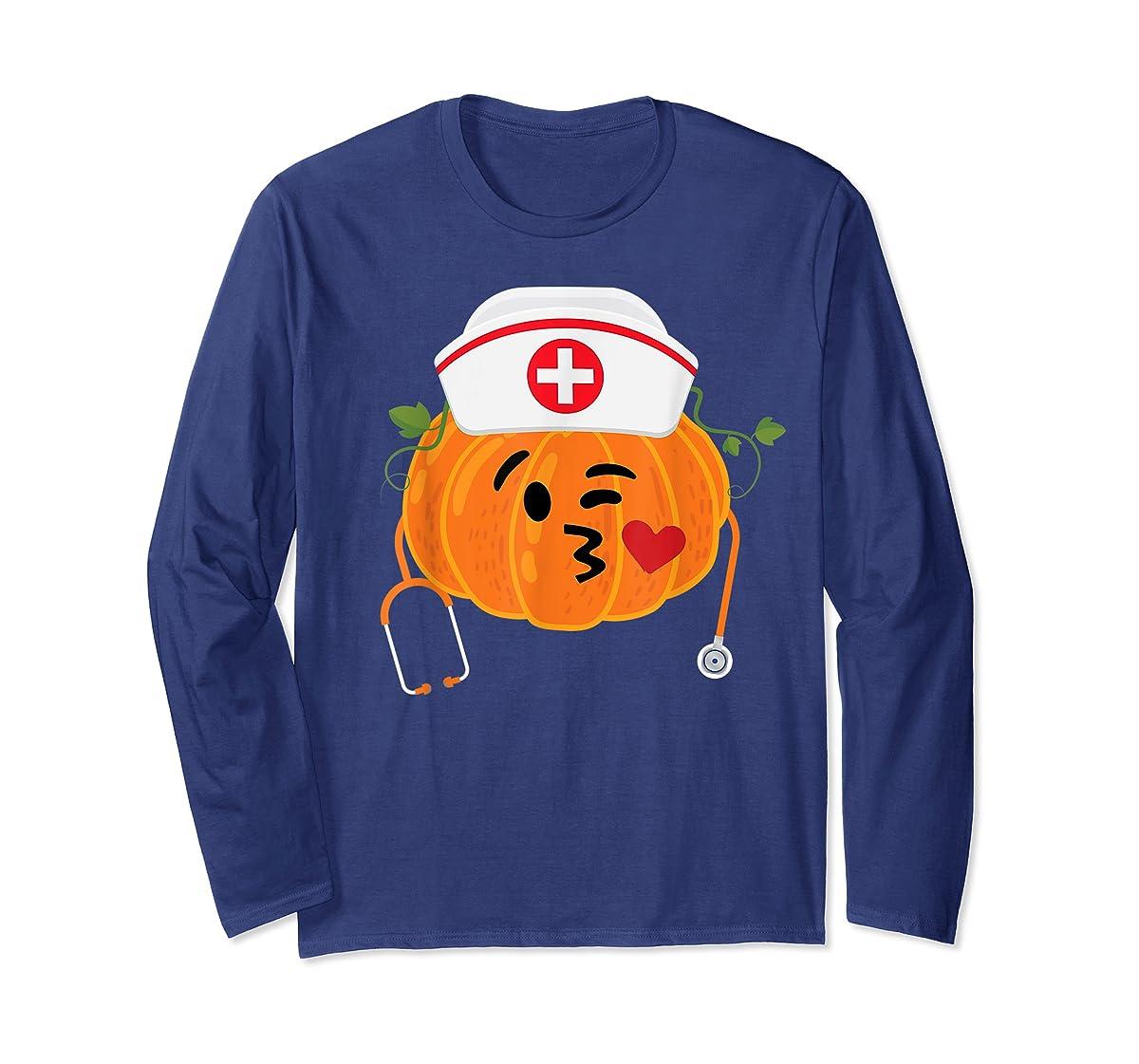 Nurse Stethoscope Pumpkin Funny Nursing Halloween Gift T-Shirt-Long Sleeve-Navy