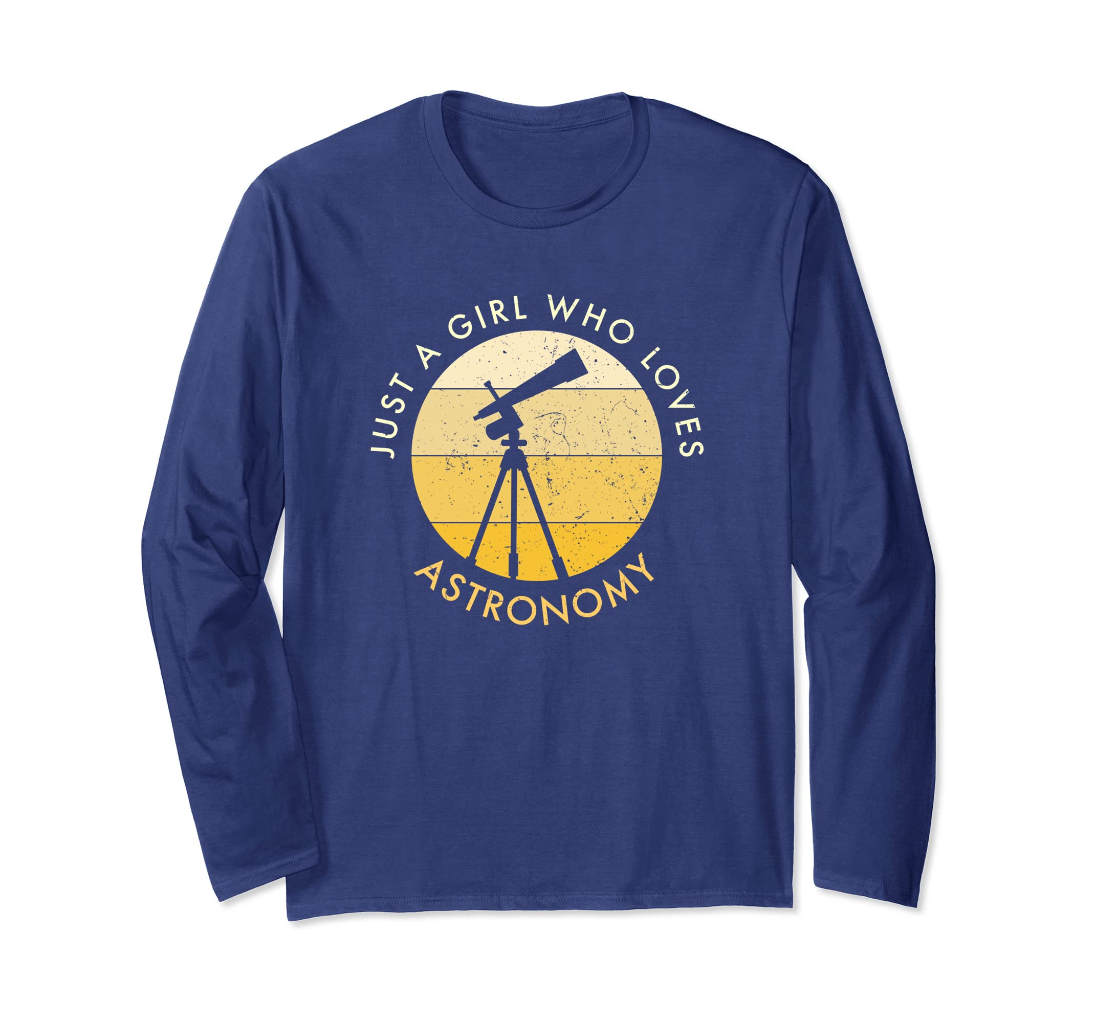 Distressed Just A Girl Who Loves Astronomy Long Sleeve Shirt-Awarplus