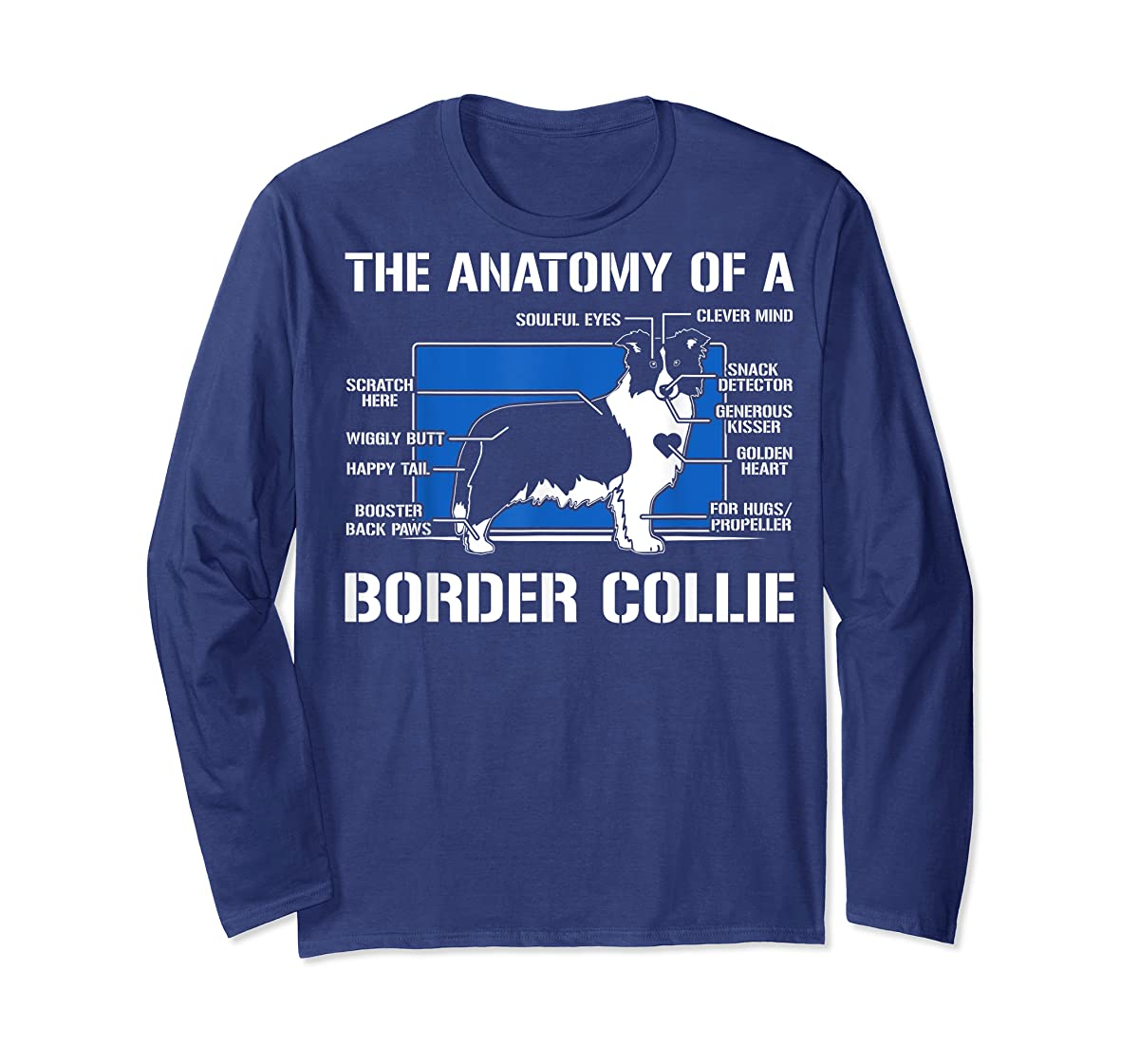 The Anatomy Of A Border Collie T shirt-Long Sleeve-Navy