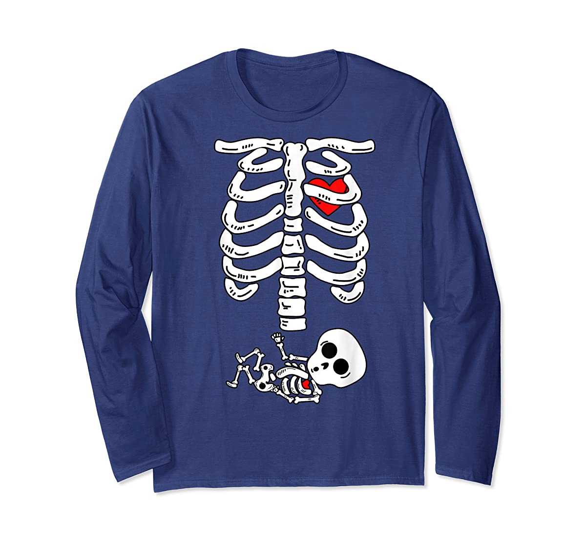 Skeleton Pregnancy Halloween Costumes For Couples T-Shirt-Long Sleeve-Navy