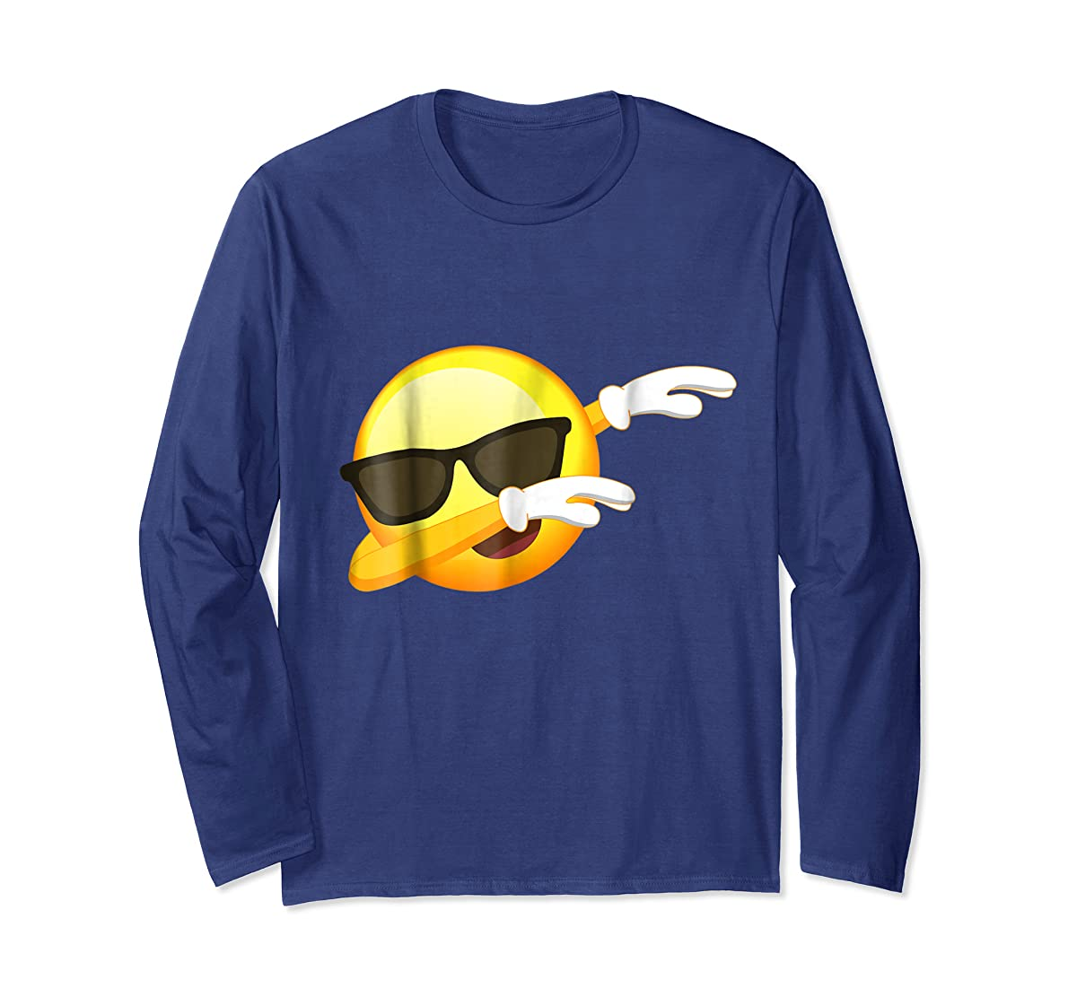 Funny Dabbing Emoji Shirt - Cool Emoji Dab T-Shirt-Long Sleeve-Navy