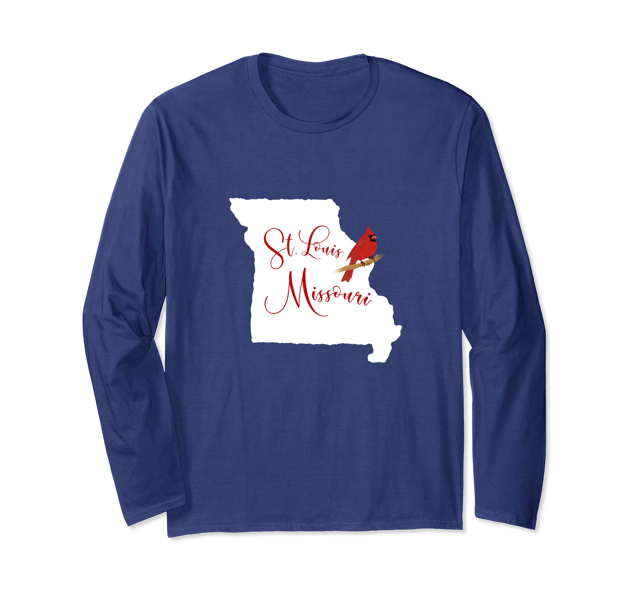   Trendy St. Louis Missouri Red Cardinal Long Sleeve-ln