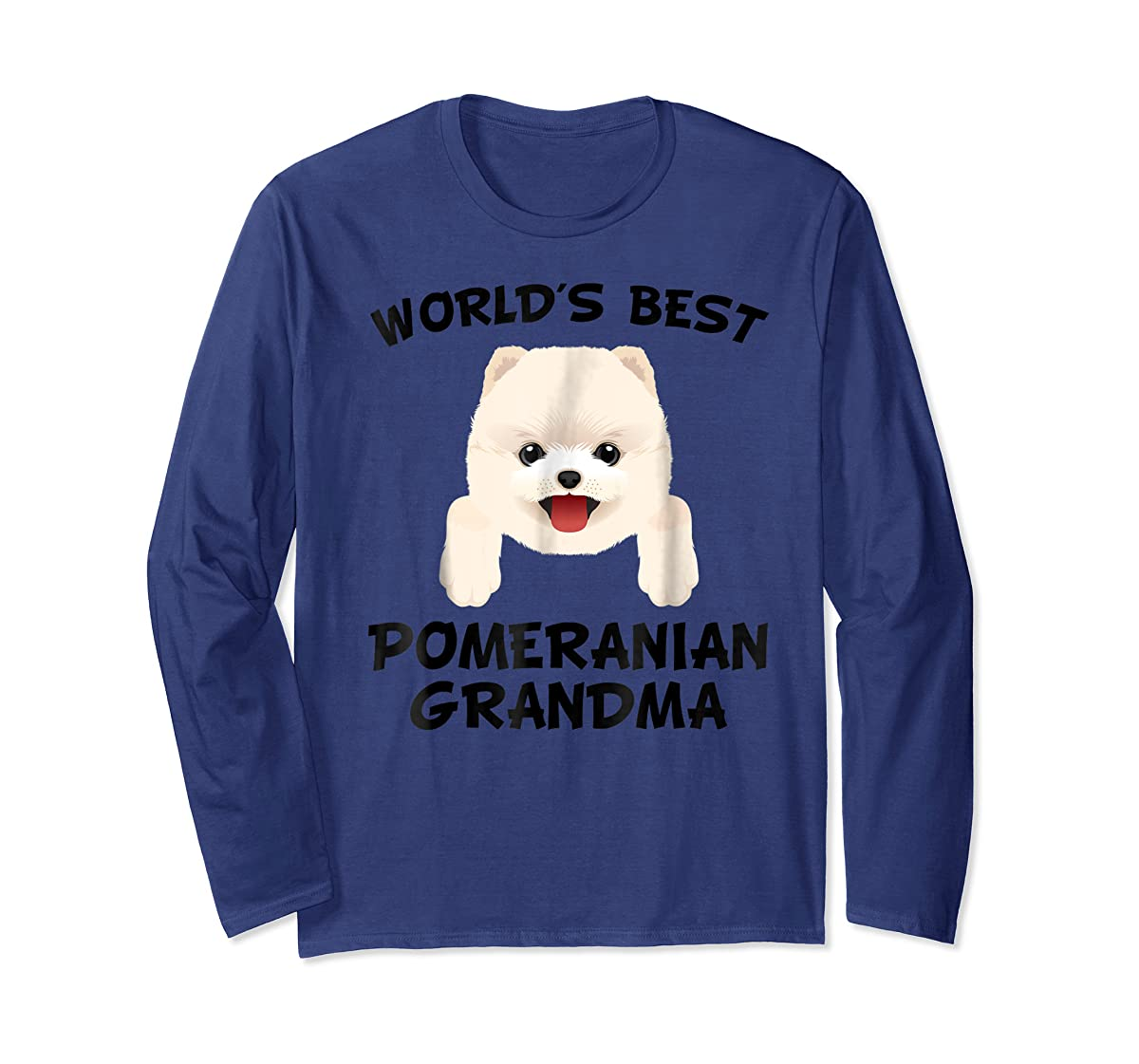 World's Best Pomeranian Grandma Dog Granddog T-Shirt-Long Sleeve-Navy