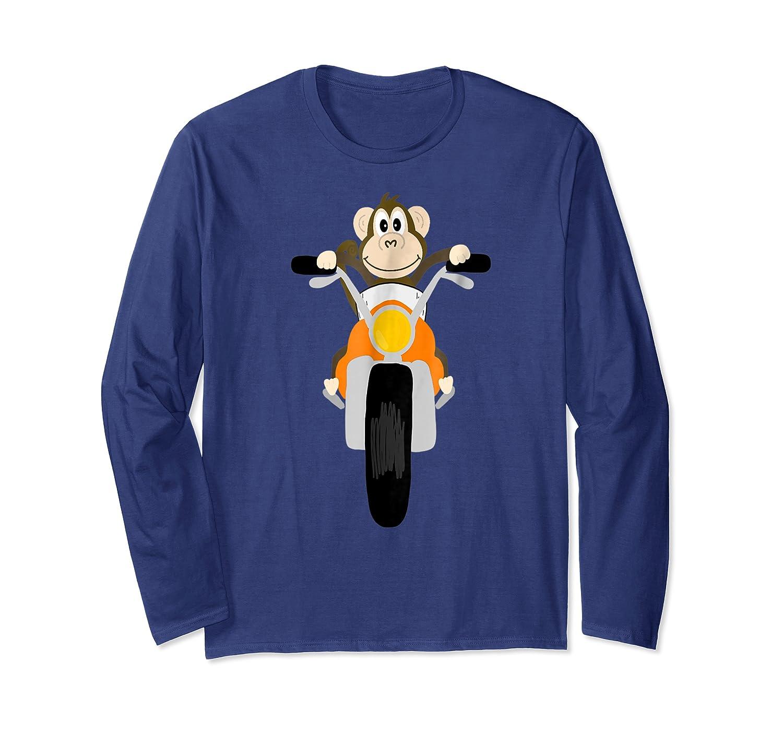 Southerndesigntees Cool Monkey Riding Motorcycle T-shirt Long Sleeve T-shirt