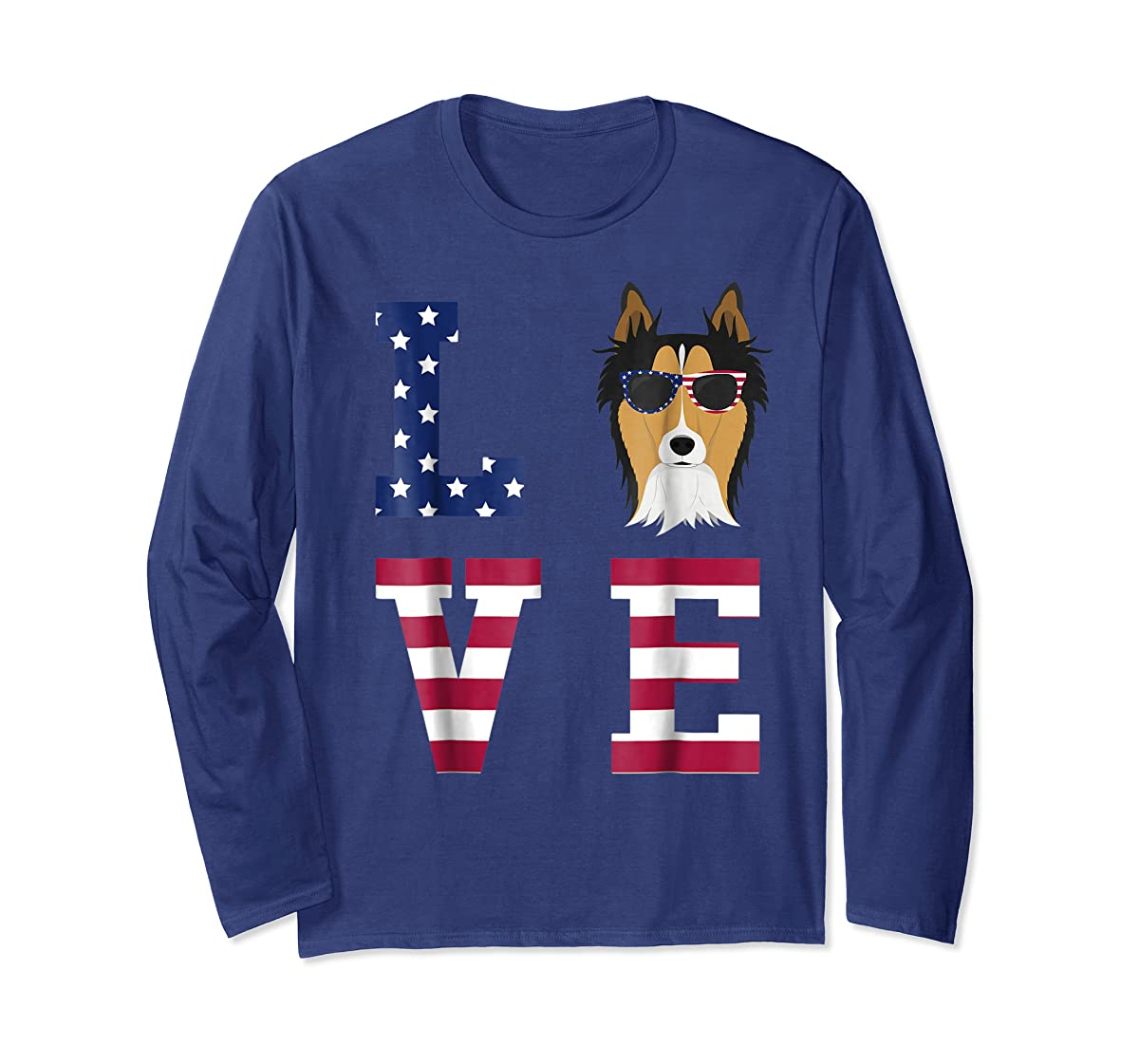 Collie Dog - 4th Of July T-Shirt-Long Sleeve-Navy