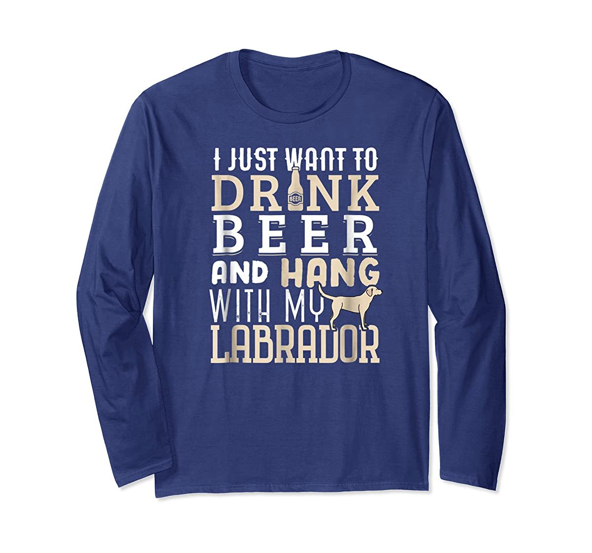 Labrador Dad Shirt Funny Father's Day Lab Retriever Dog Beer-Long Sleeve-Navy