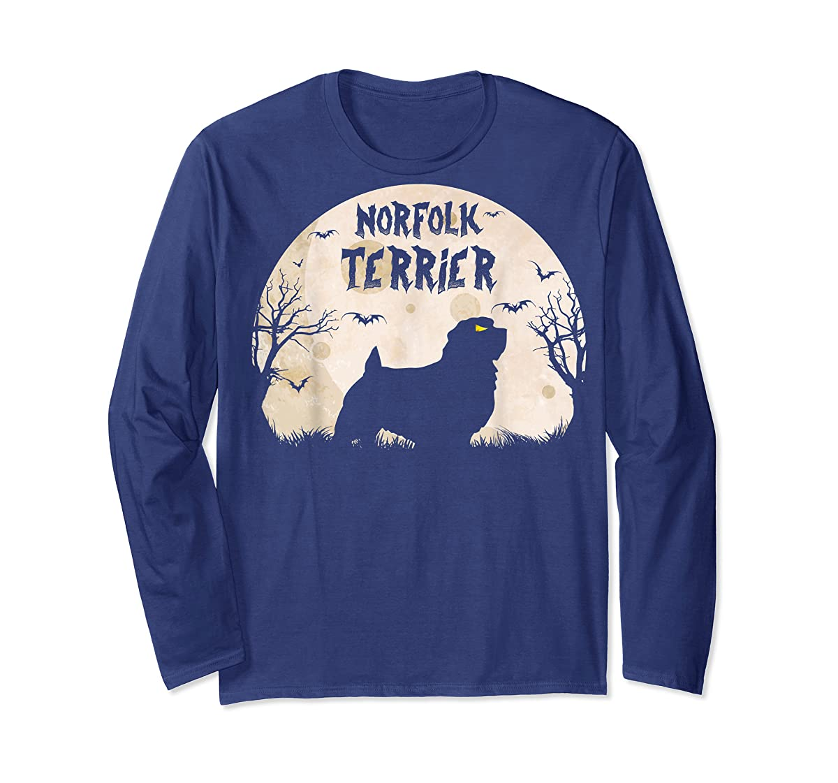 Halloween Horror Norfolk Terrier T-Shirt-Long Sleeve-Navy