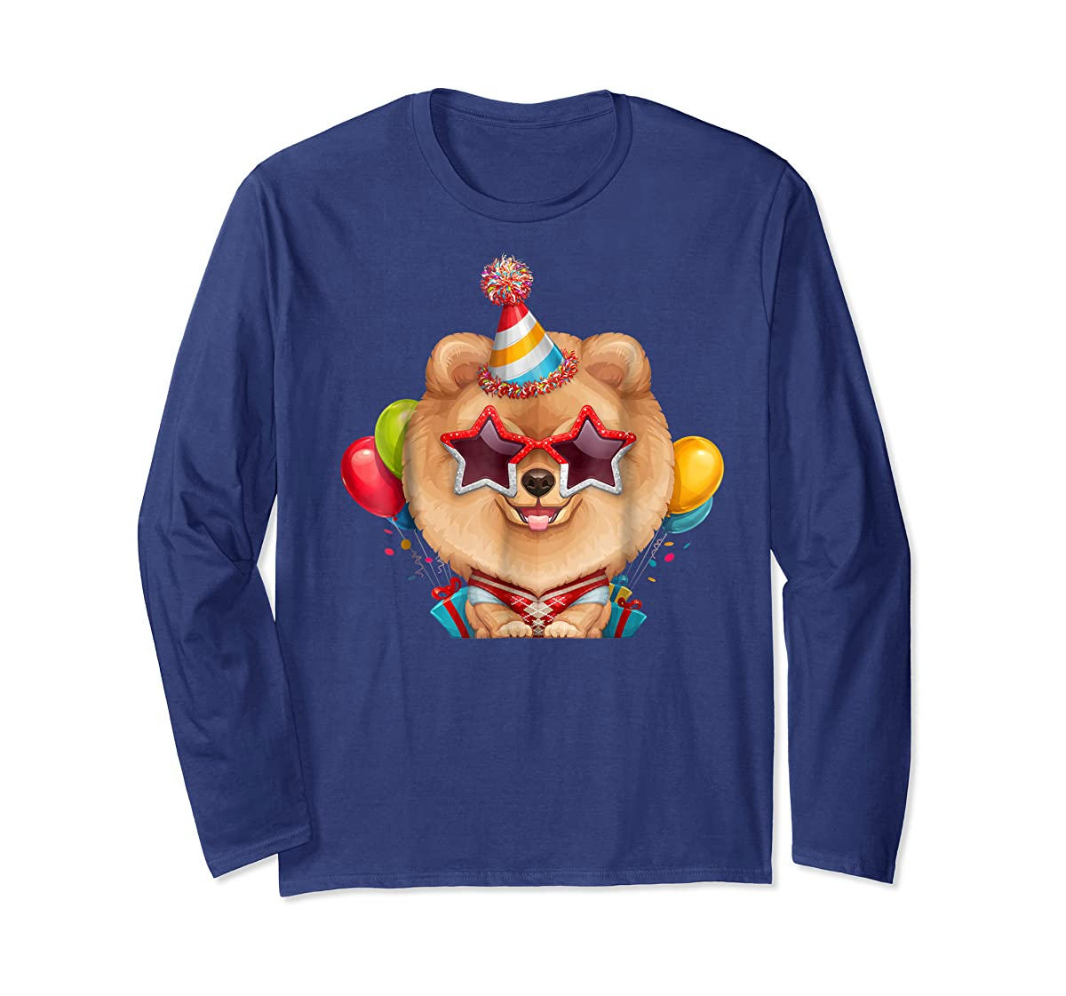 Orange Pomeranian in Glasses Birthday T-Shirt-Long Sleeve-Navy