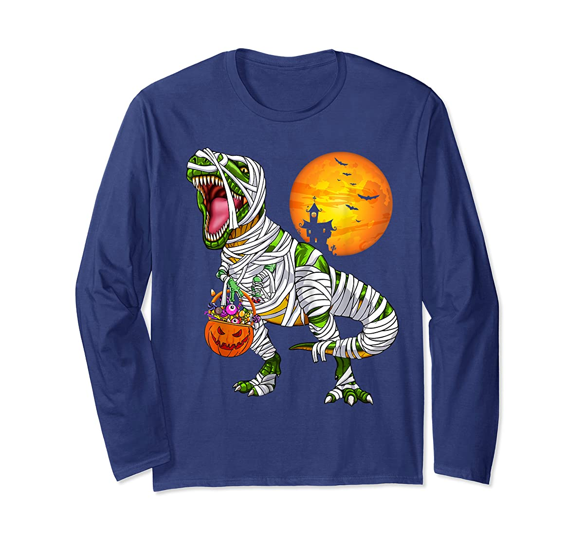 Halloween Gift For Boys Kids Dinosaur T rex Mummy Pumpkin T-Shirt-Long Sleeve-Navy