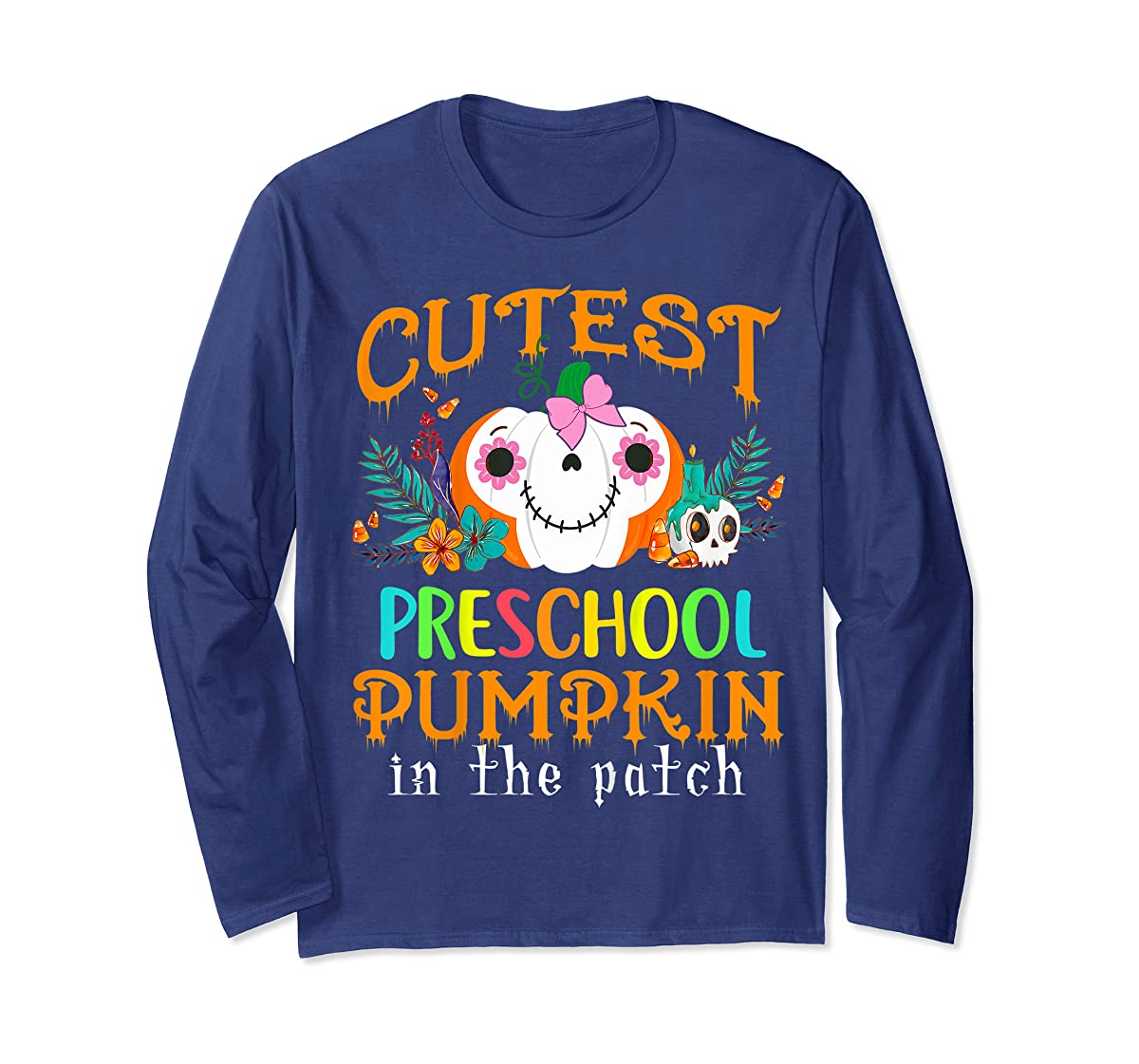 Kids Cutest Preschool Pumpkin In The Patch Halloween Costume Girl T-Shirt-Long Sleeve-Navy