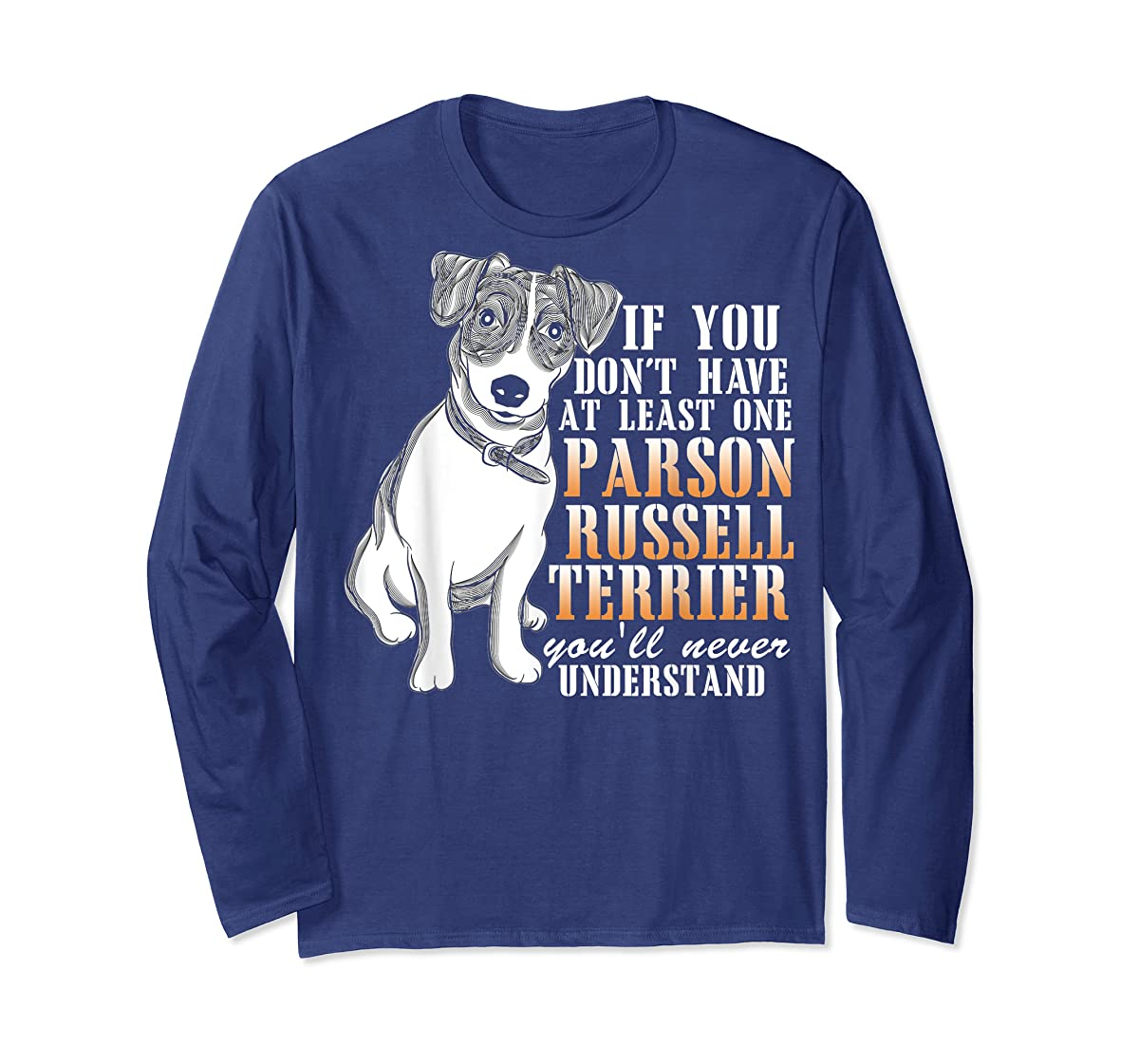 Parson Russell Terrier T Shirt, I Love My Dog T Shirt-Long Sleeve-Navy