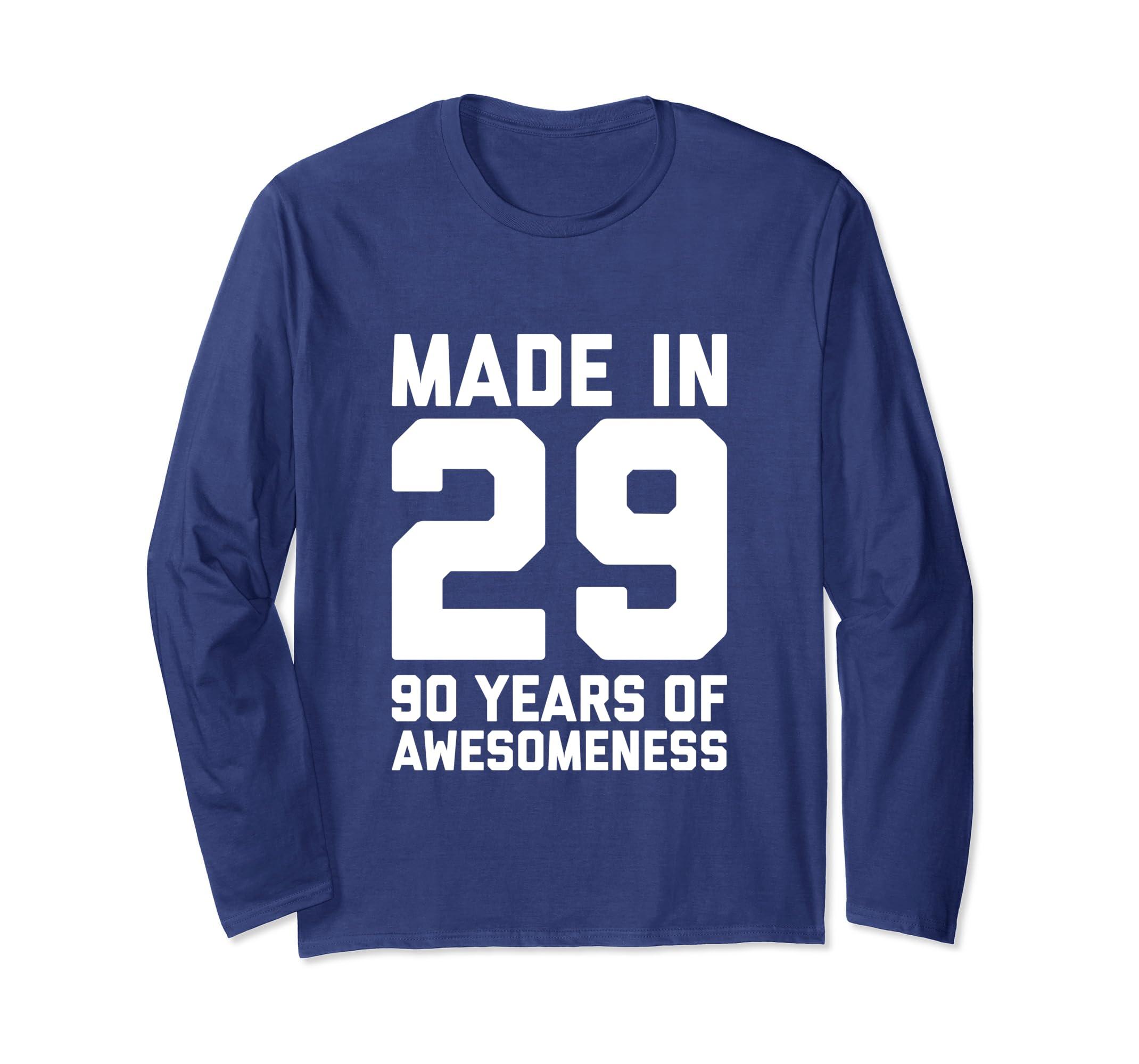 Amazon 90th Birthday Long Sleeve Women Men 90 Year Old Grandma Gift Clothing
