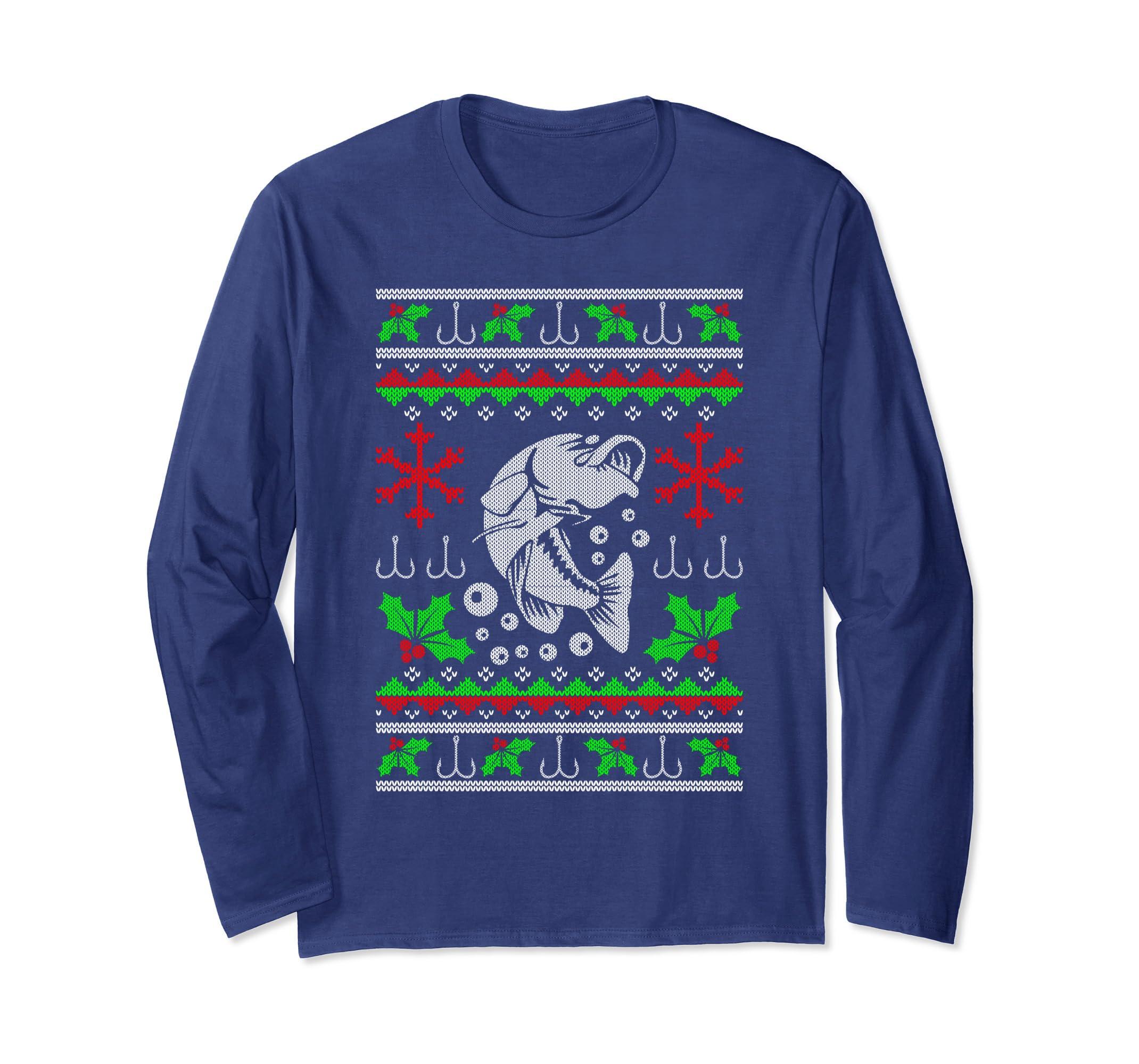 7f20c96cda7b7 Amazon.com: Fisherman's Ugly Christmas Sweater Style Fishing Bass Shirt:  Clothing