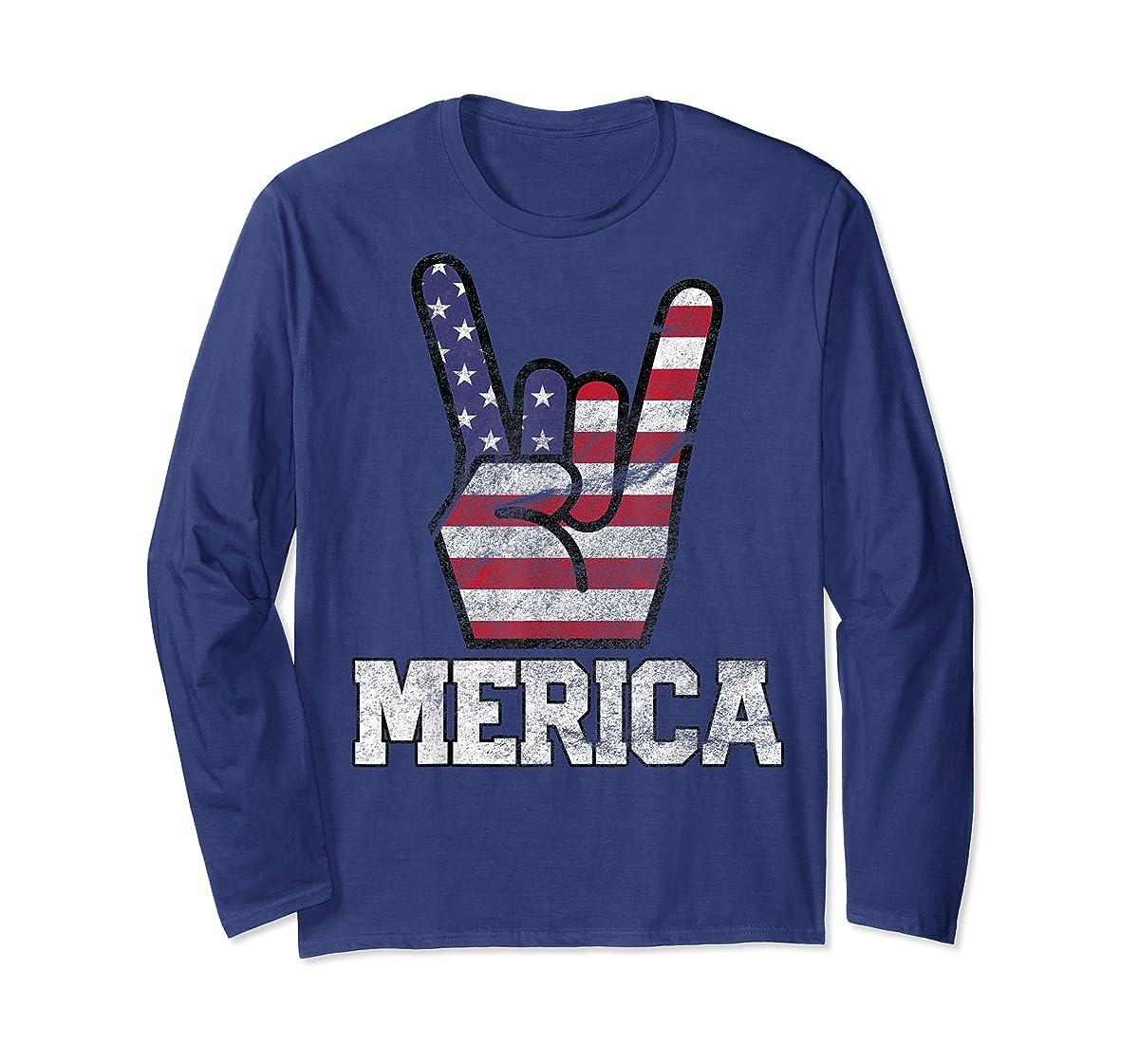 Merica Rock Sign 4th of July Vintage American Flag Retro USA T-Shirt-Long Sleeve-Navy