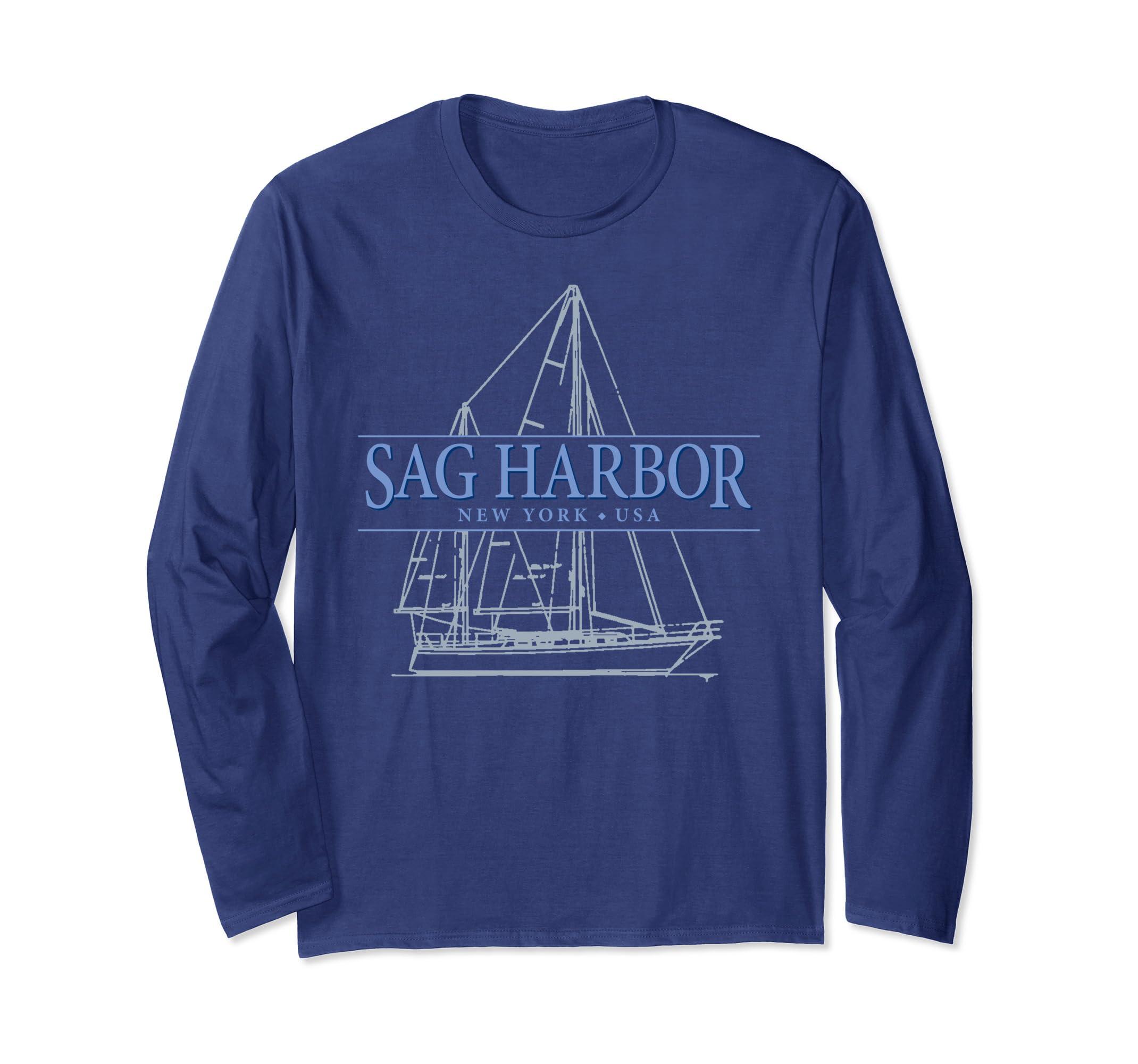 Sag Harbor NY souvenir sailing long sleeve t-shirt-Teehay