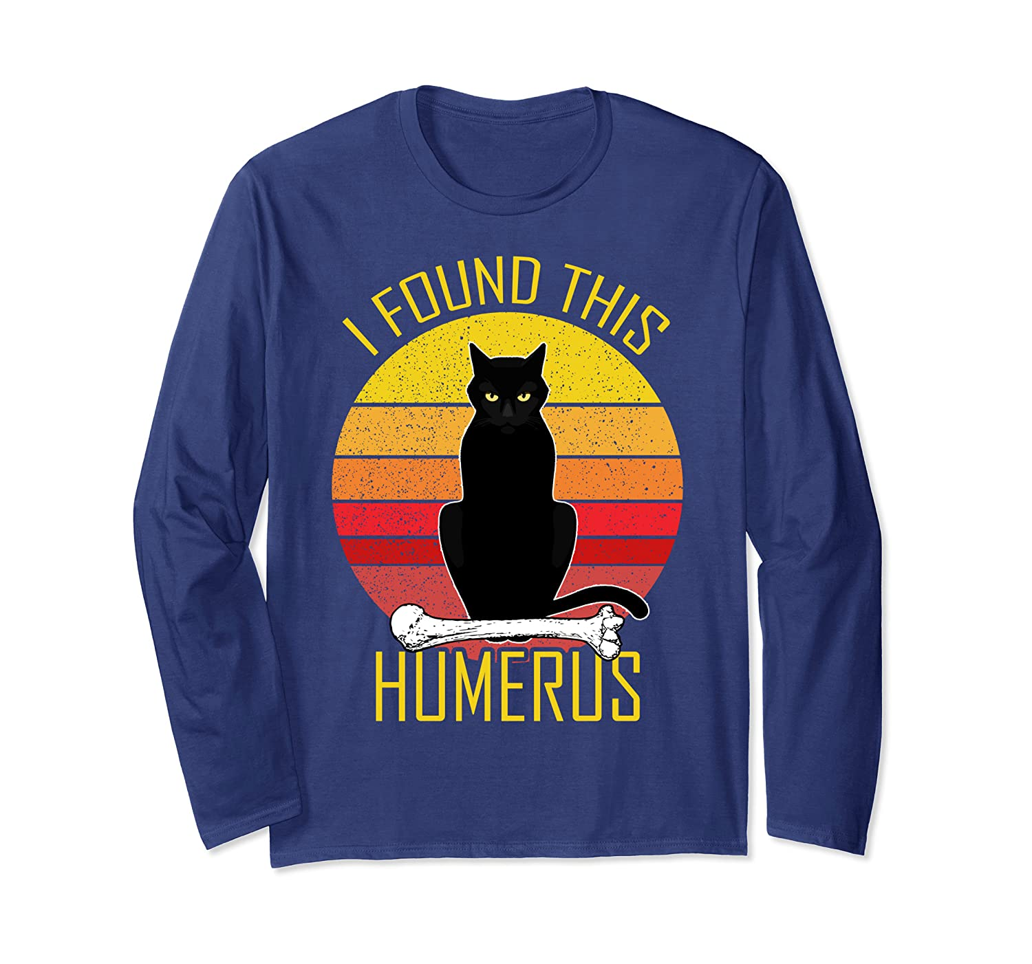 I Found This Humerus Vintage Cat Humorous Long Sleeve T-Shirt-ANZ