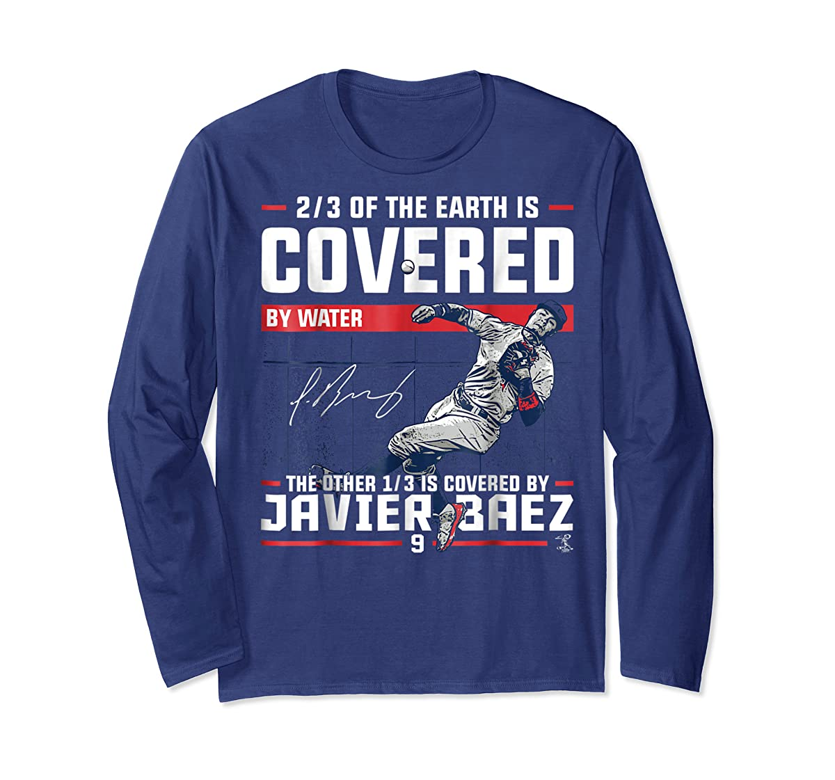Javier Baez Covered By T-Shirt - Apparel-Long Sleeve-Navy