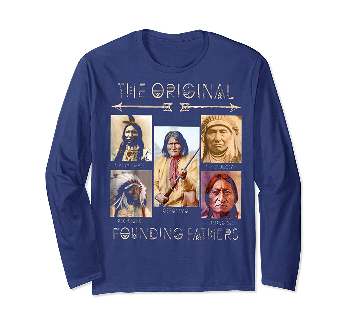 the original founding fathers native classic shirt-Long Sleeve-Navy