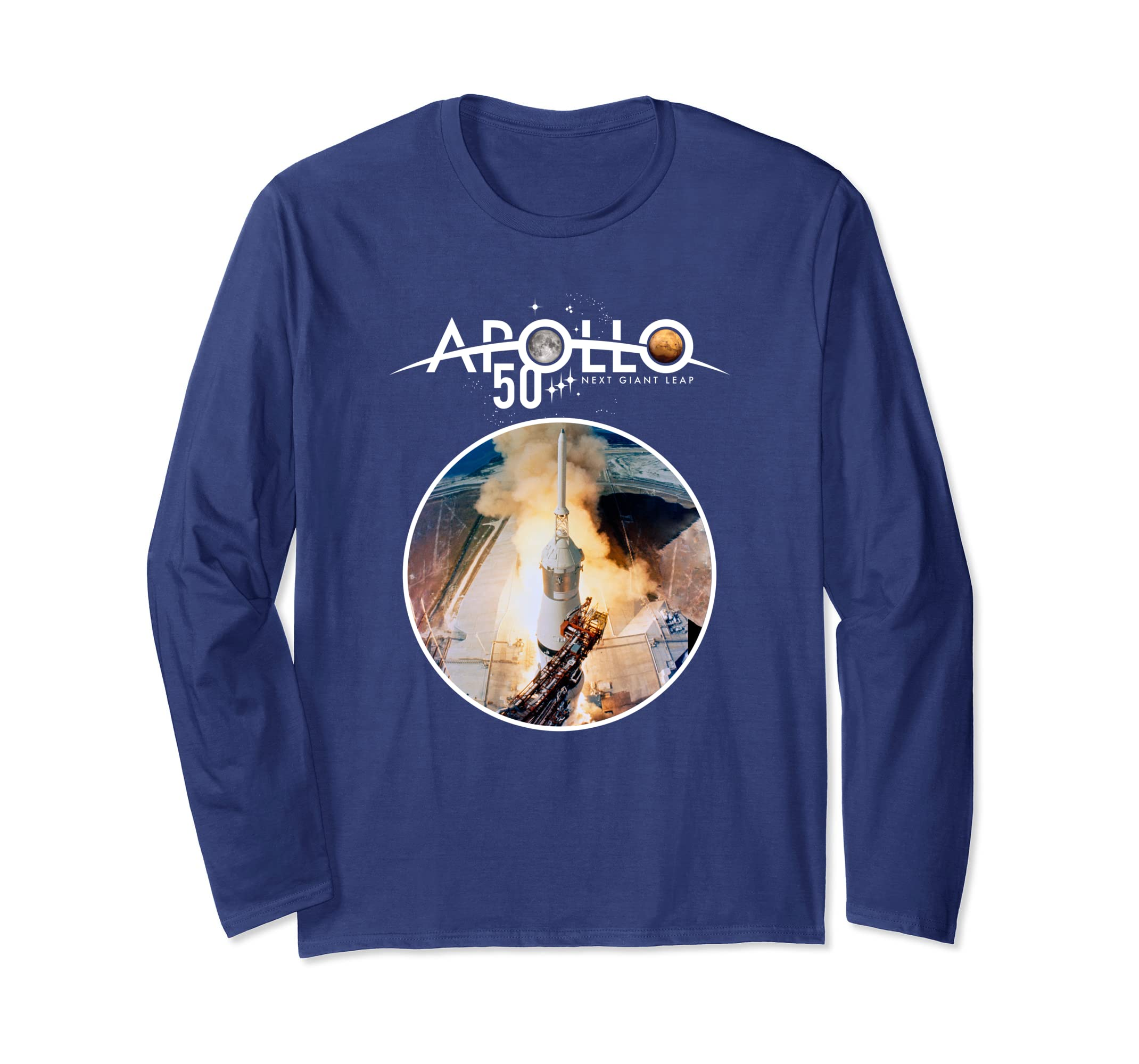 992a169a8851 Amazon.com: Apollo 50th NASA Launch Tower Icon Long Sleeve T-Shirt: Clothing