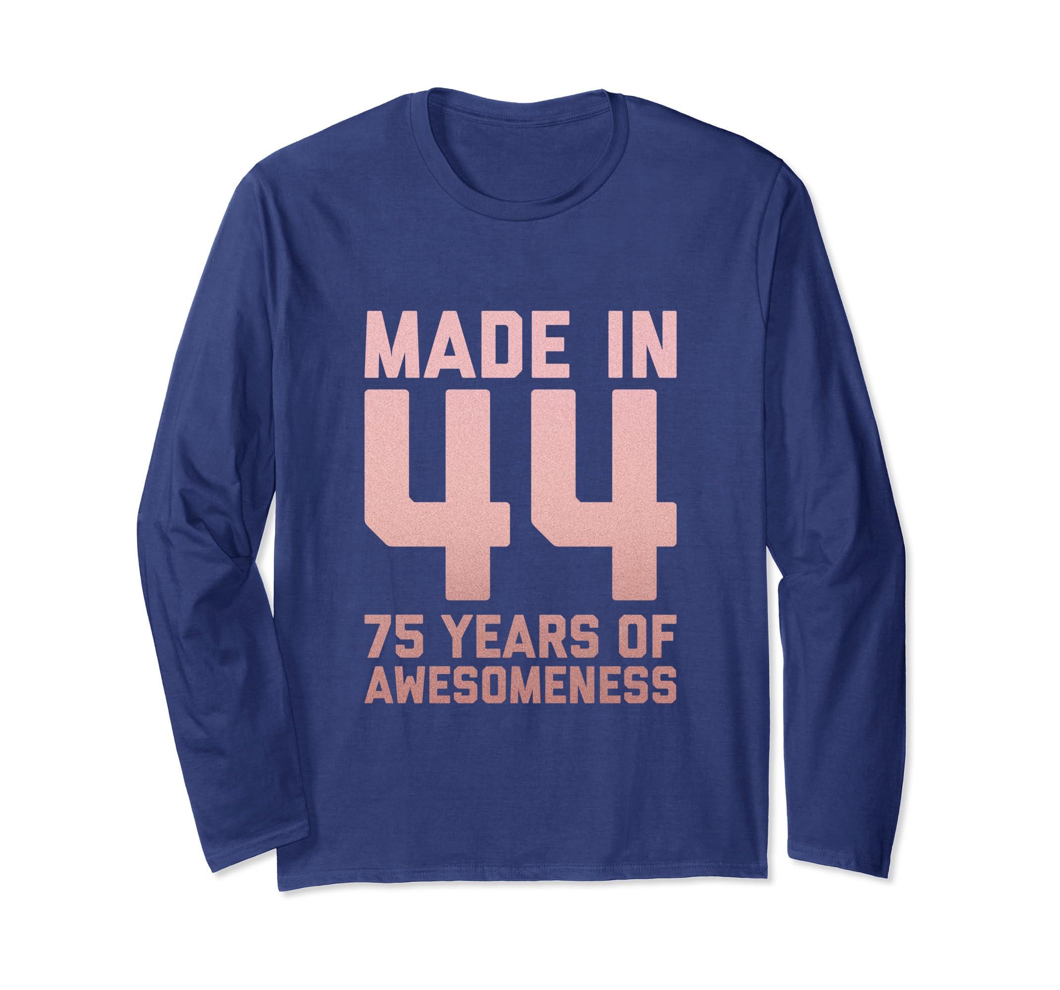 Amazon 75th Birthday Long Sleeve Gift Women Grandma Age 75 Year Old Clothing