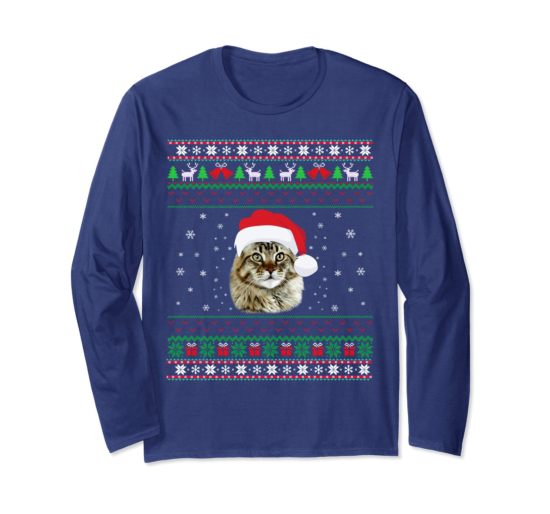 Meowy Christmas Sweater.Maine Coon Meowy Christmas Ugly Sweater Cat Gift Long Sleeve Sfl