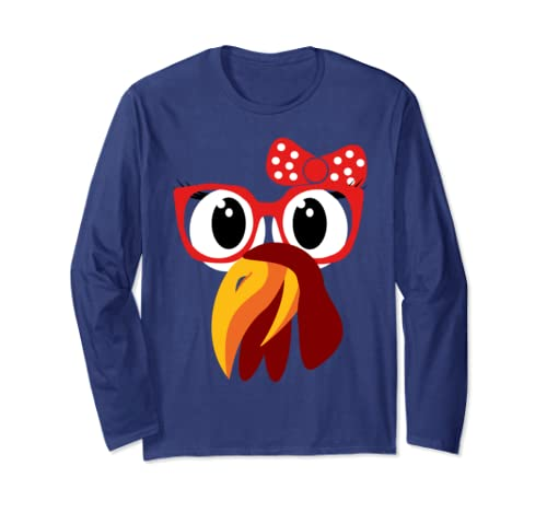 Cute Turkey Face With Glasses & Bow Nerdy Funny Turkey Trot Long Sleeve T Shirt