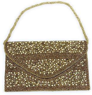 ADORA FASHION INDIAN HANDMADE CLUTCH BAG FOR WOMEN ADORA ACI 149 GOLD - WHITE PEARL, S STONES