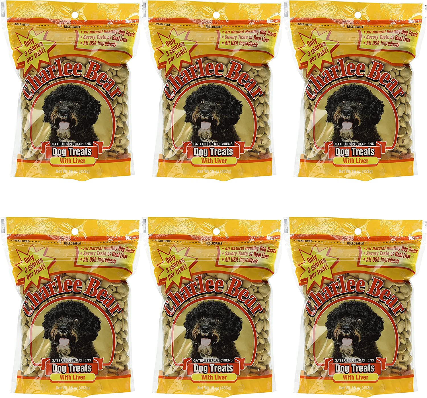 Charlee Bear 840235167945 Dog Treats with Liver 6 Pack