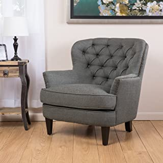Christopher Knight Home Alfred Tufted Fabric Club, Contemporary Lounge Accent Chair, Dark Grey