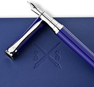 Scribe Sword Fountain Pen With Black Ink - Blue Calligraphy Pens For Writing - Designer Gift Set - Medium Nib - A Business Executive Fountain Pen And Case - Complete With Instructions …