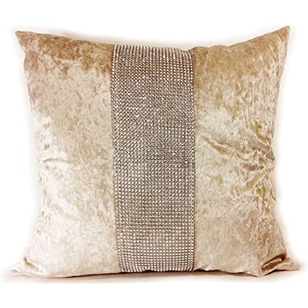 Crushed Velvet Ombre Diamante Cushion Cover Scatter Cushion Two Tone 43x43cm